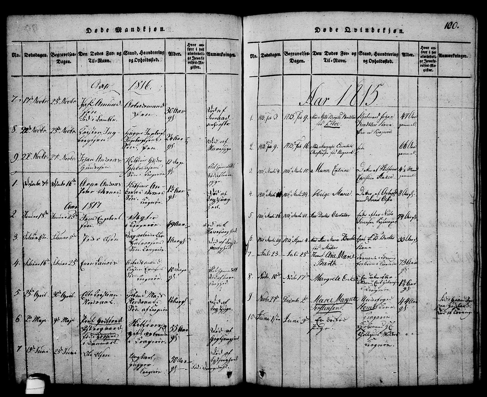 SAKO, Kragerø kirkebøker, G/Ga/L0002: Klokkerbok nr. 2, 1814-1831, s. 100