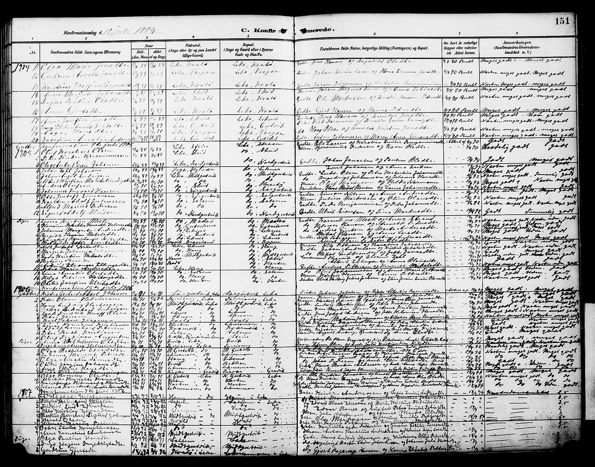 SAT, Ministerialprotokoller, klokkerbøker og fødselsregistre - Nord-Trøndelag, 788/L0701: Klokkerbok nr. 788C01, 1888-1913, s. 151