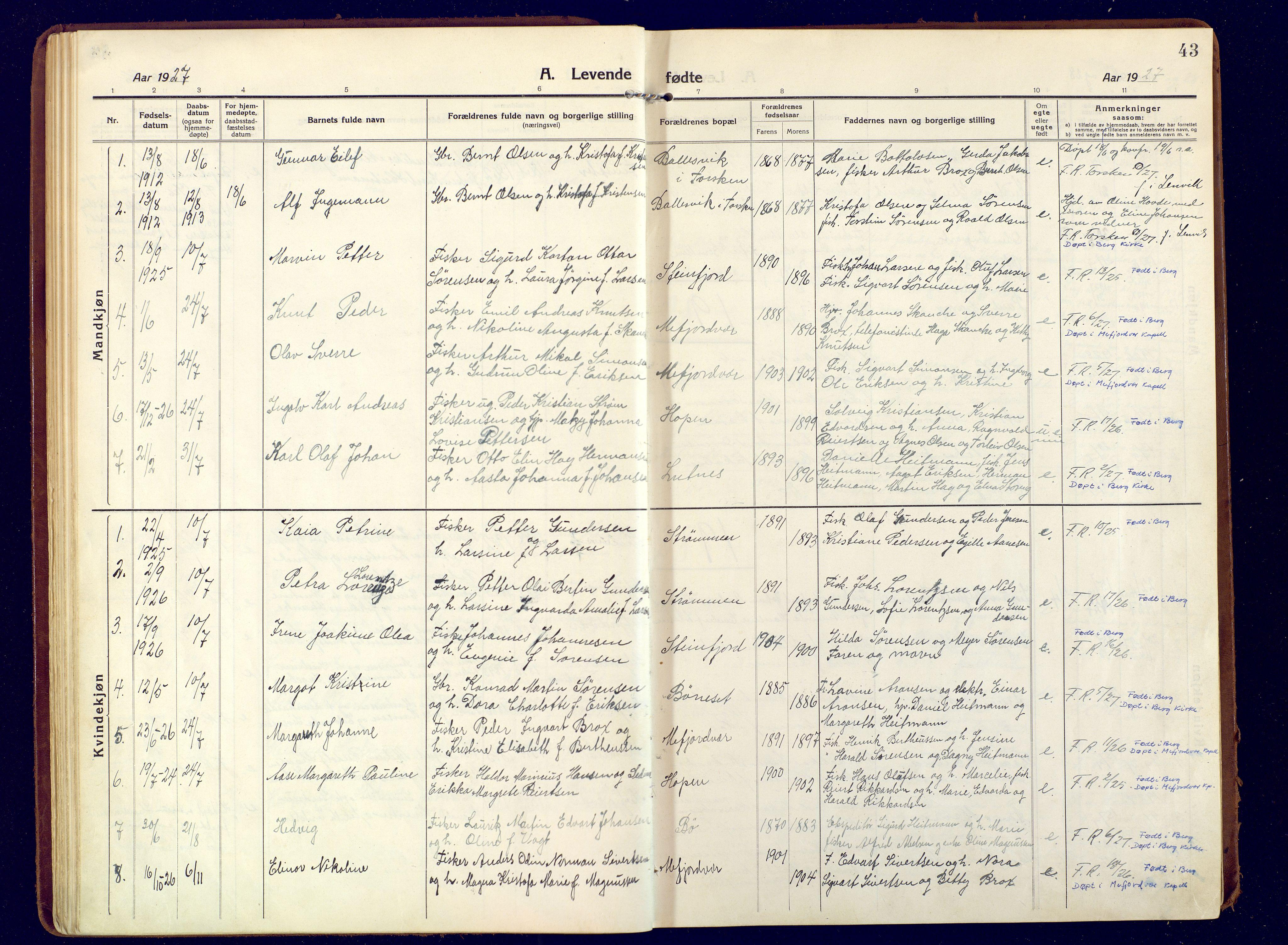 SATØ, Mefjord/Berg sokneprestkontor, G/Ga/Gaa: Ministerialbok nr. 9, 1916-1928, s. 43