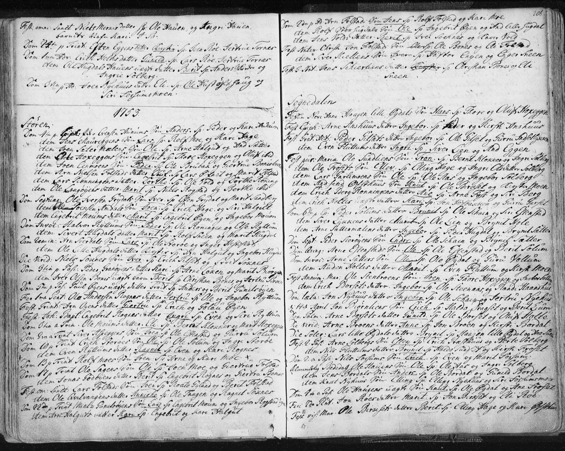 SAT, Ministerialprotokoller, klokkerbøker og fødselsregistre - Sør-Trøndelag, 687/L0991: Ministerialbok nr. 687A02, 1747-1790, s. 208