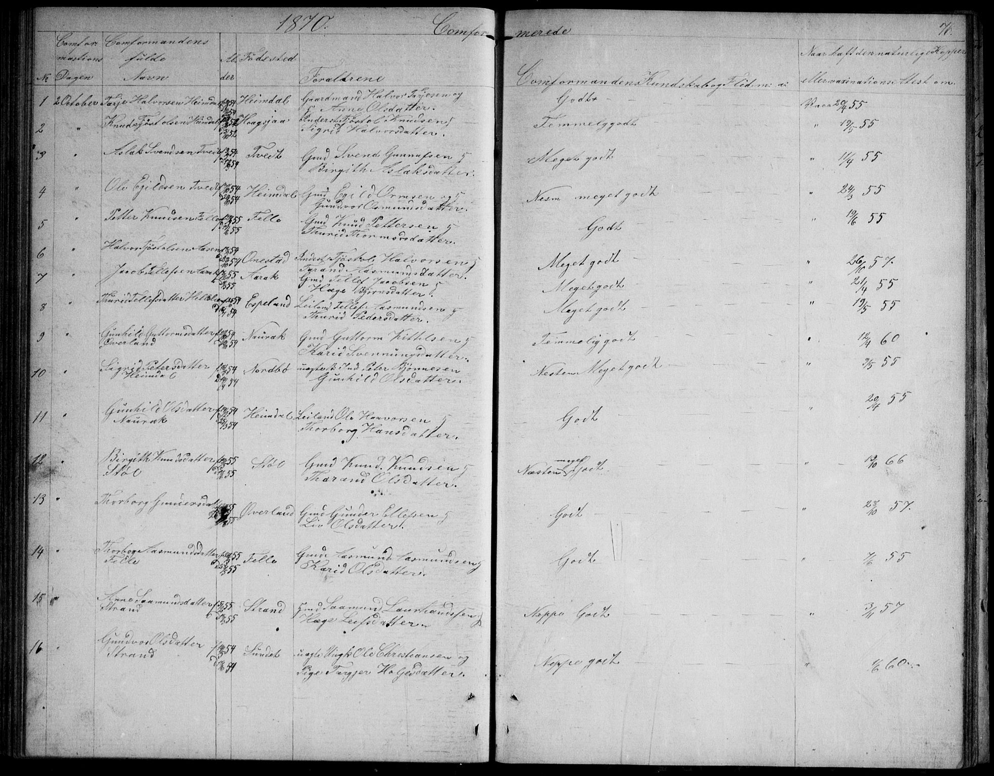 SAKO, Nissedal kirkebøker, G/Gb/L0002: Klokkerbok nr. II 2, 1863-1892, s. 76