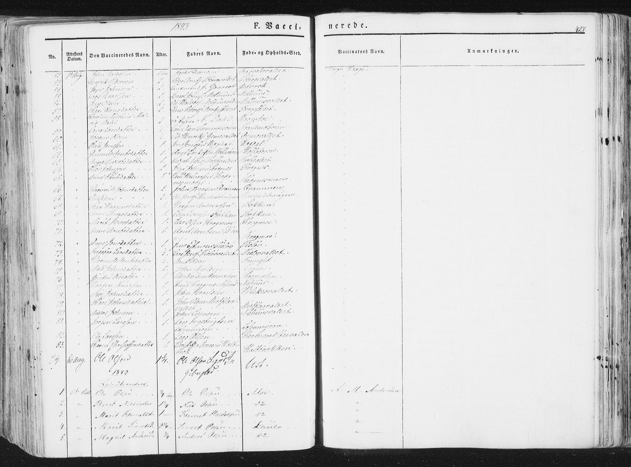 SAT, Ministerialprotokoller, klokkerbøker og fødselsregistre - Sør-Trøndelag, 691/L1074: Ministerialbok nr. 691A06, 1842-1852, s. 427