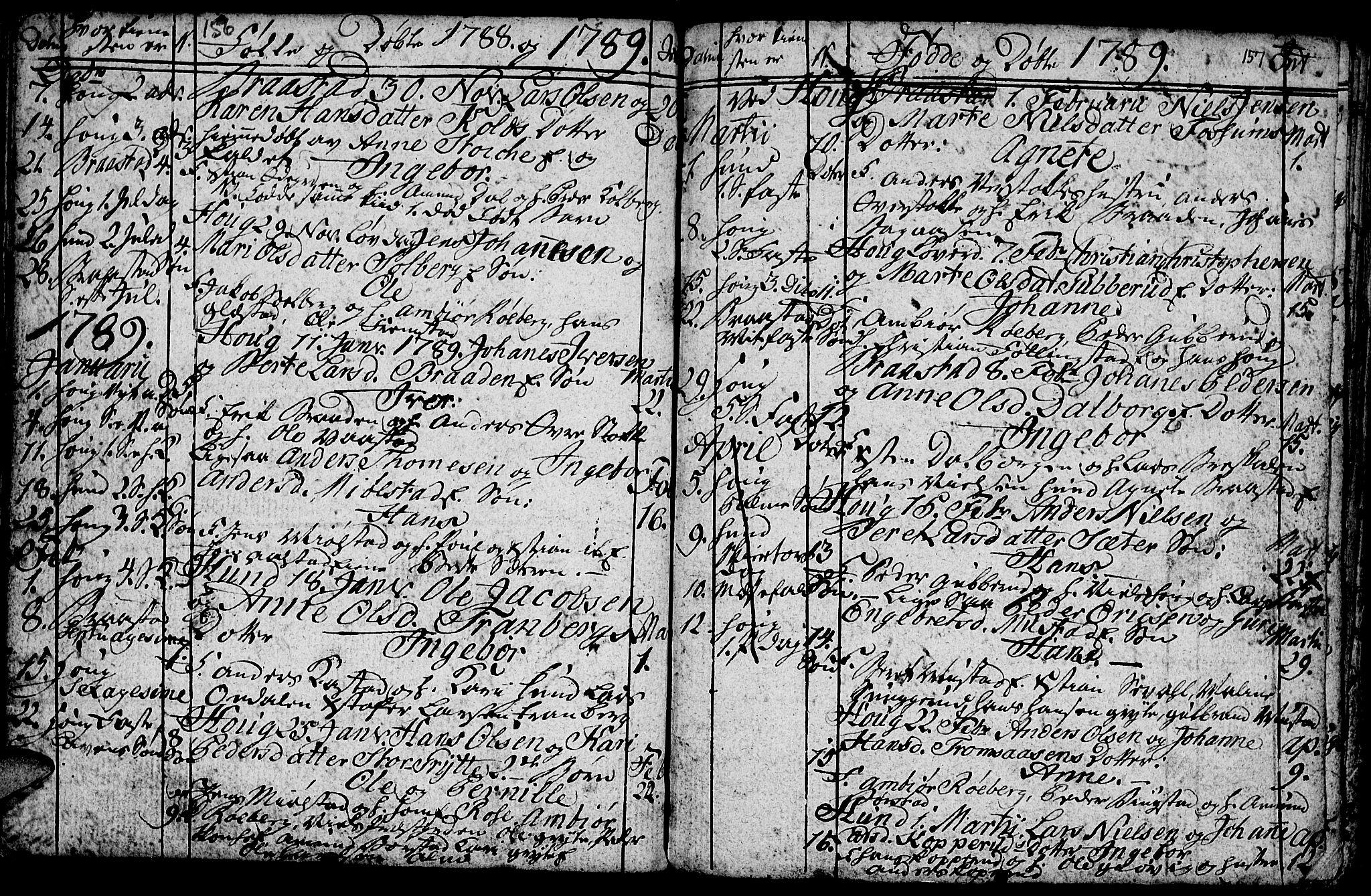 SAH, Vardal prestekontor, H/Ha/Hab/L0001: Klokkerbok nr. 1, 1771-1790, s. 156-157