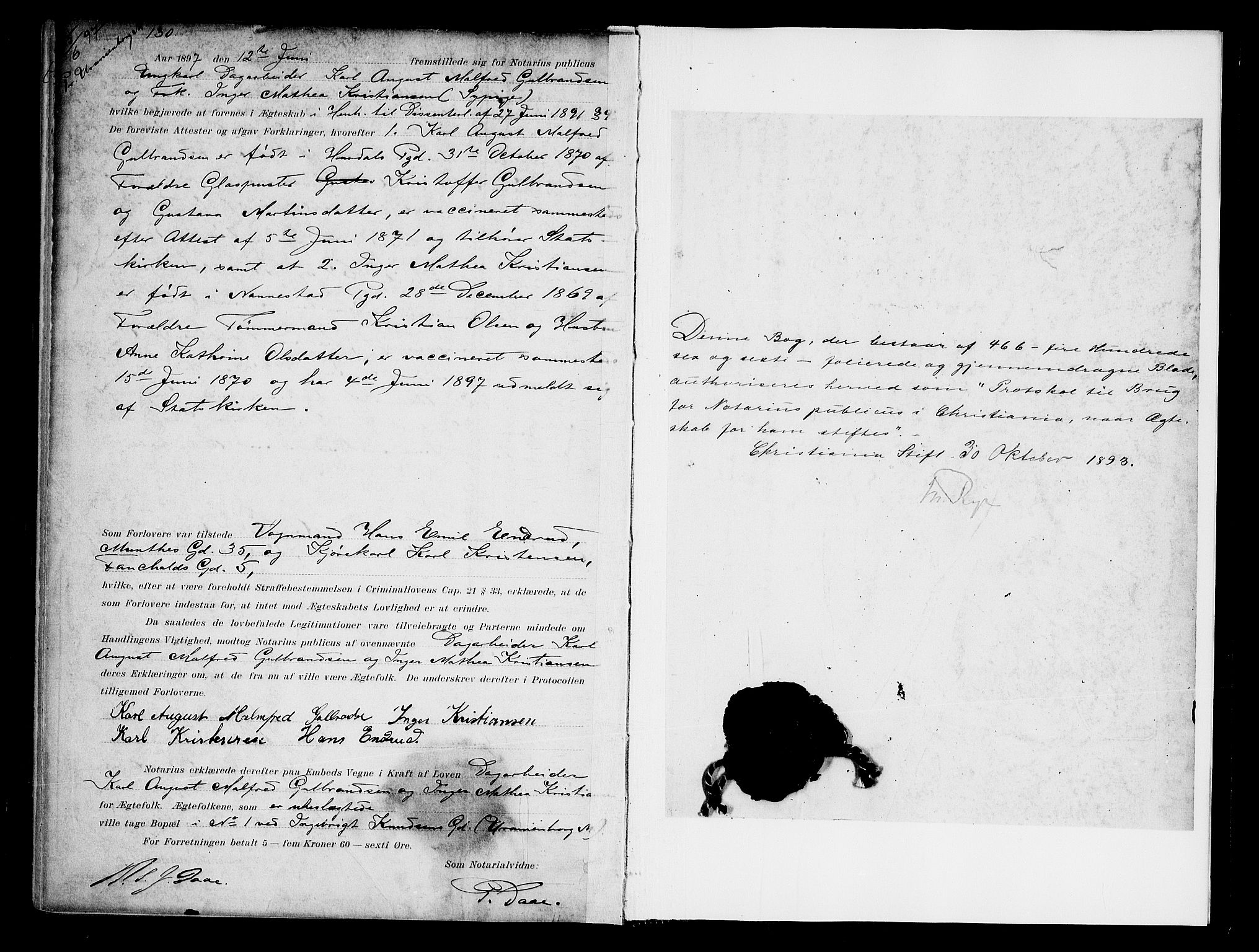 SAO, Oslo byfogd avd. I, L/Lb/Lbb/L0003: Notarialprotokoll, rekke II: Vigsler, 1893-1897, s. 466b-467a