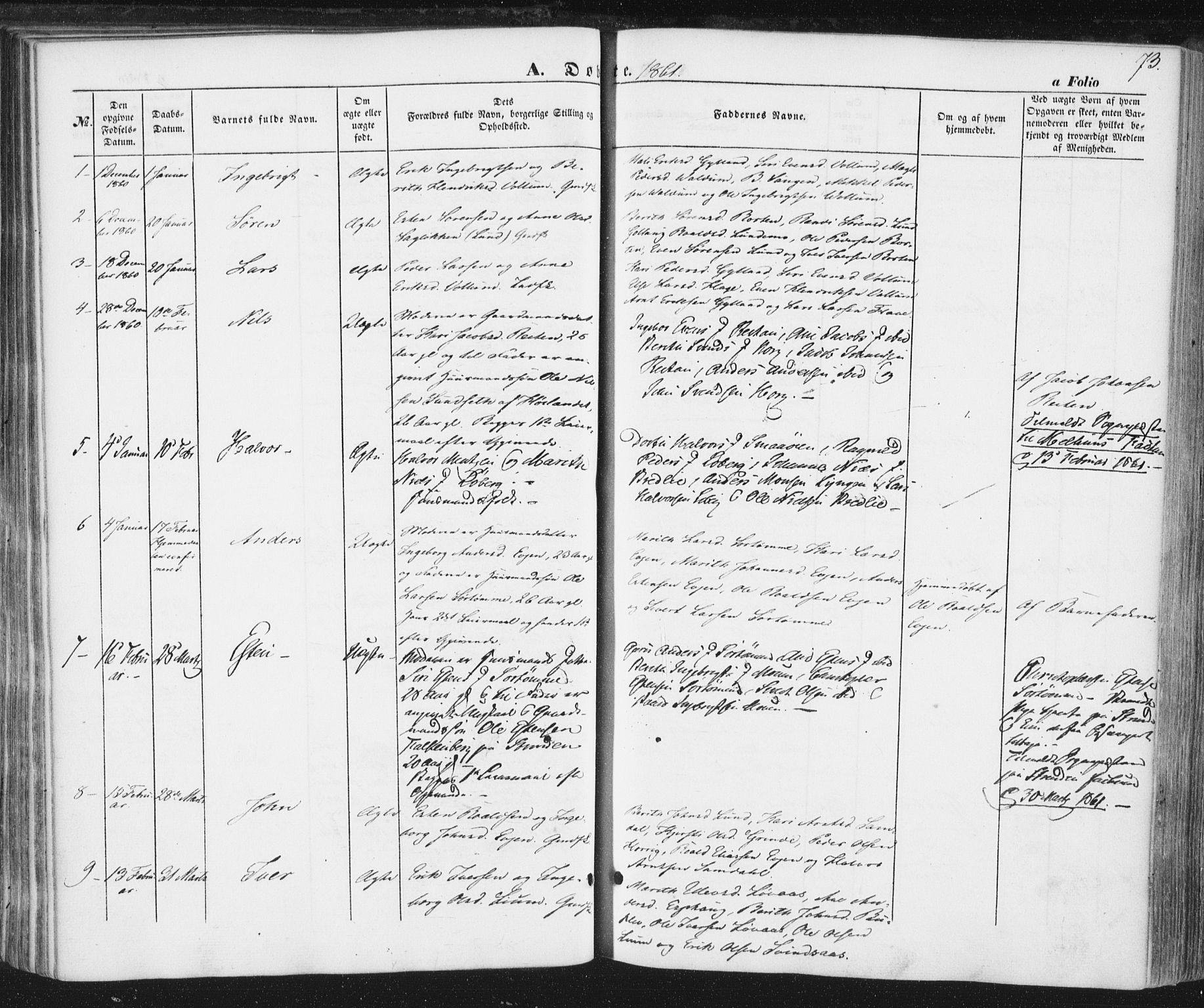SAT, Ministerialprotokoller, klokkerbøker og fødselsregistre - Sør-Trøndelag, 692/L1103: Ministerialbok nr. 692A03, 1849-1870, s. 73