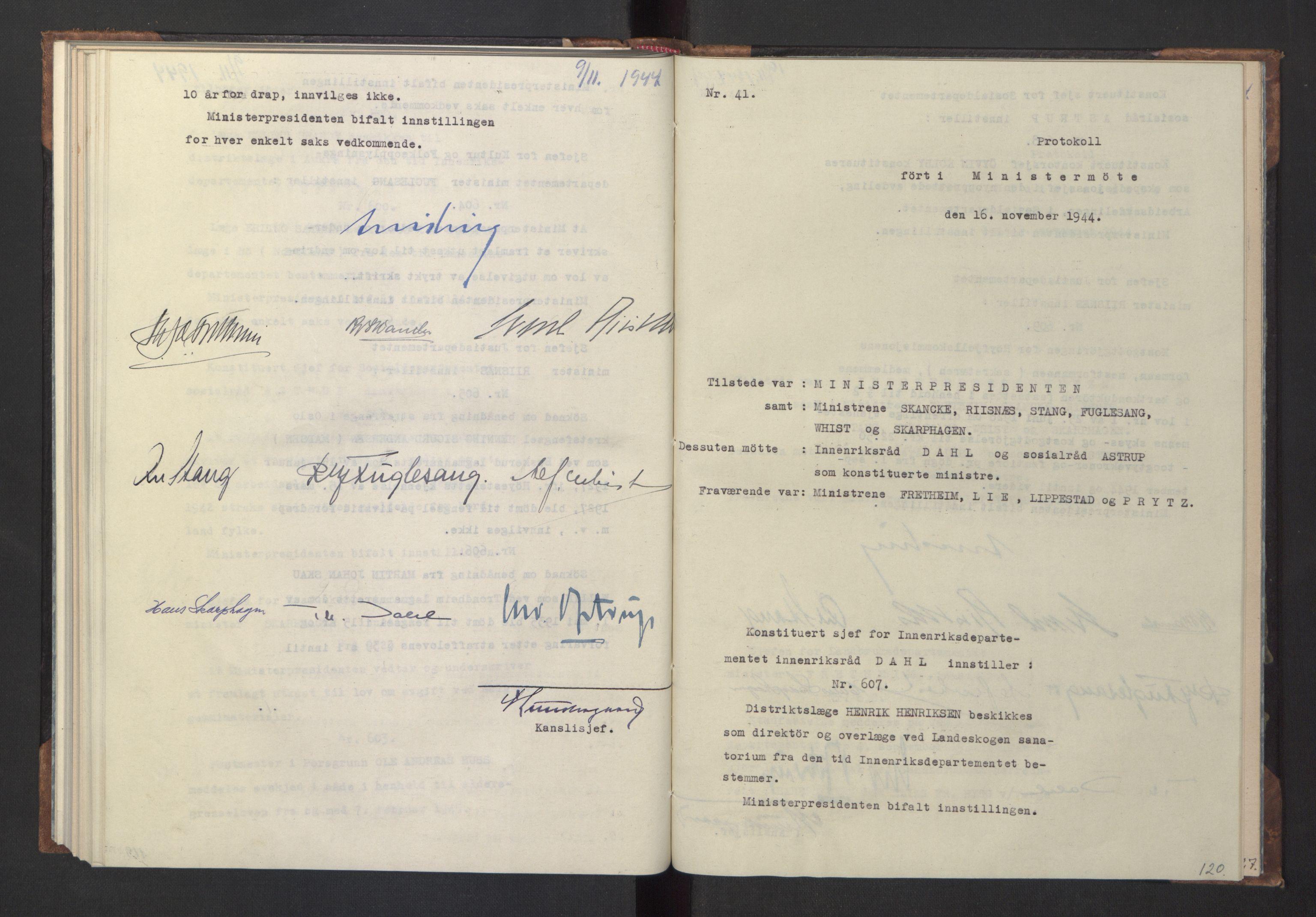 RA, NS-administrasjonen 1940-1945 (Statsrådsekretariatet, de kommisariske statsråder mm), D/Da/L0005: Protokoll fra ministermøter, 1944, s. 119b-120a