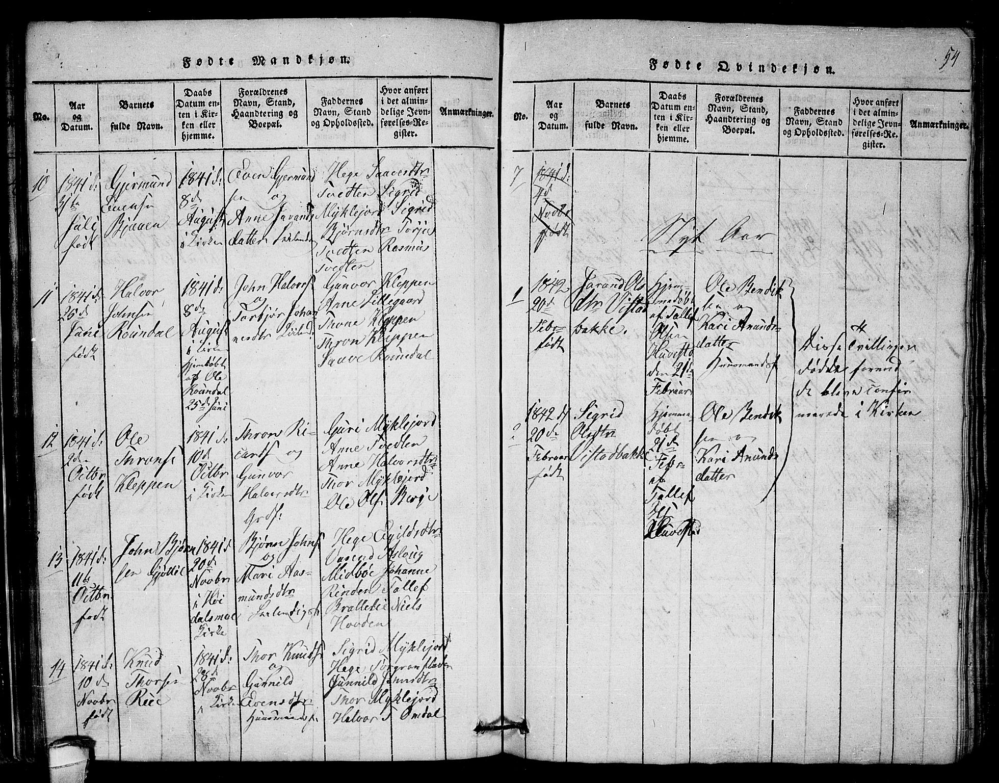 SAKO, Lårdal kirkebøker, G/Gb/L0001: Klokkerbok nr. II 1, 1815-1865, s. 54
