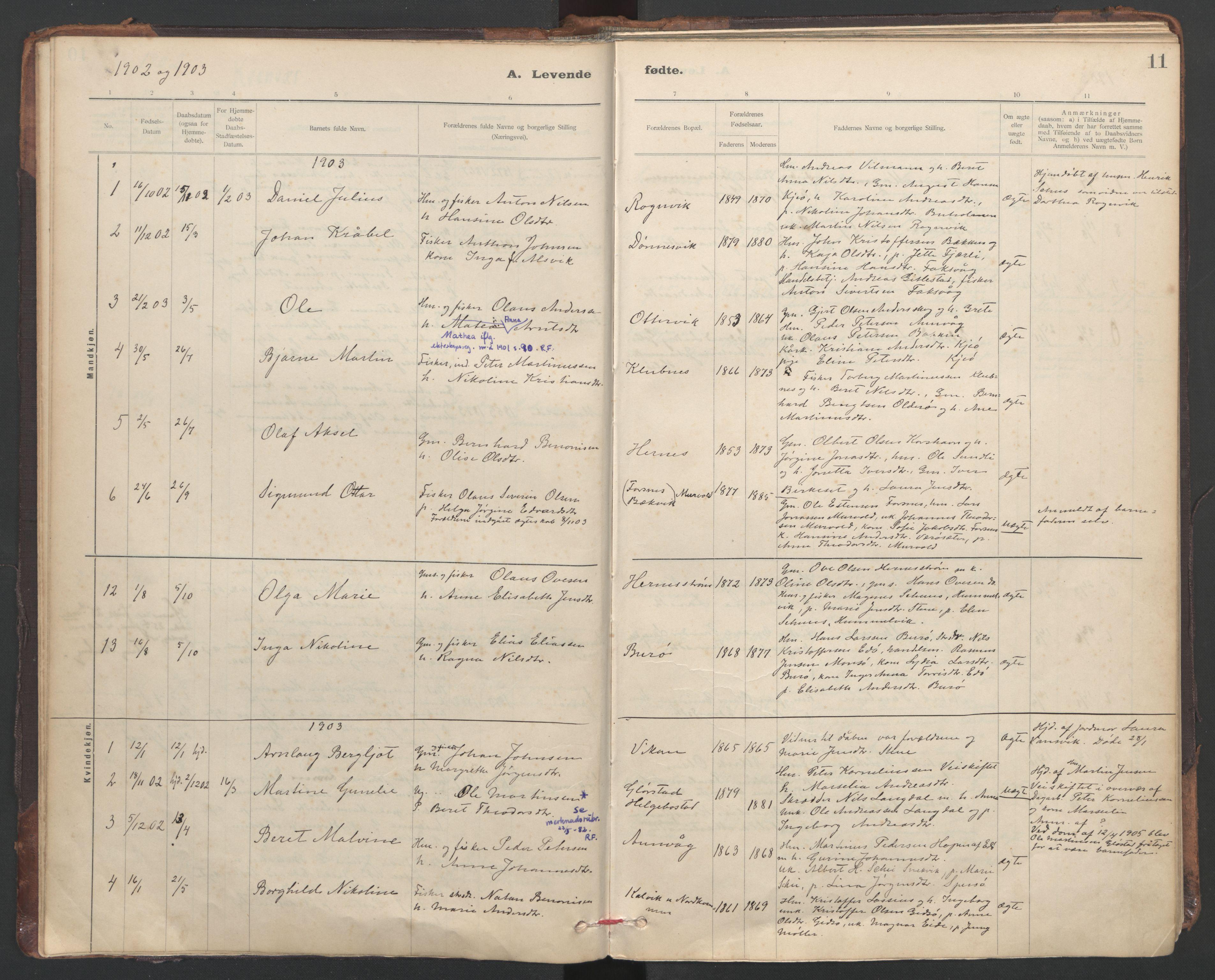 SAT, Ministerialprotokoller, klokkerbøker og fødselsregistre - Sør-Trøndelag, 635/L0552: Ministerialbok nr. 635A02, 1899-1919, s. 11