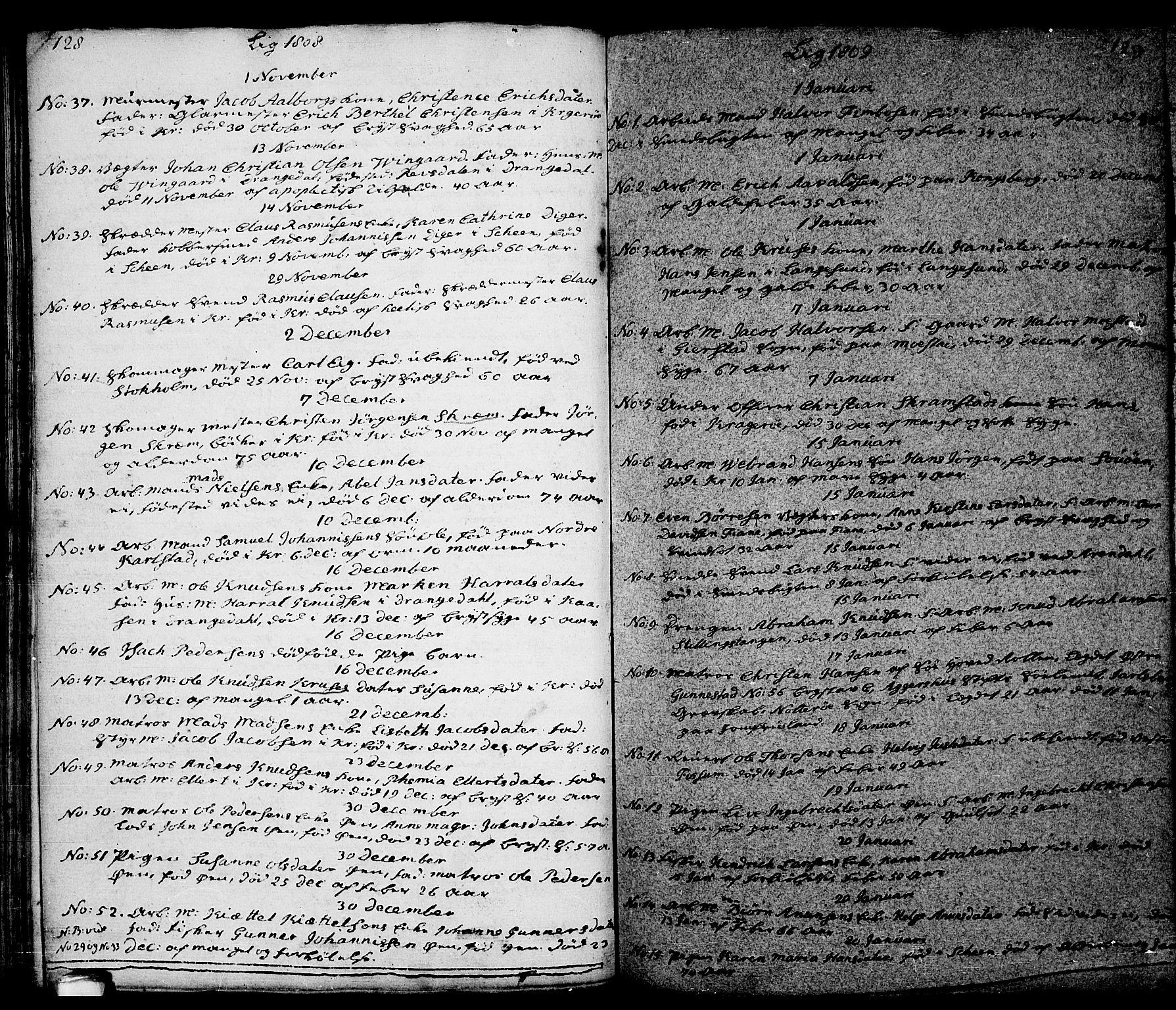 SAKO, Kragerø kirkebøker, G/Ga/L0001: Klokkerbok nr. 1 /1, 1806-1811, s. 128-129