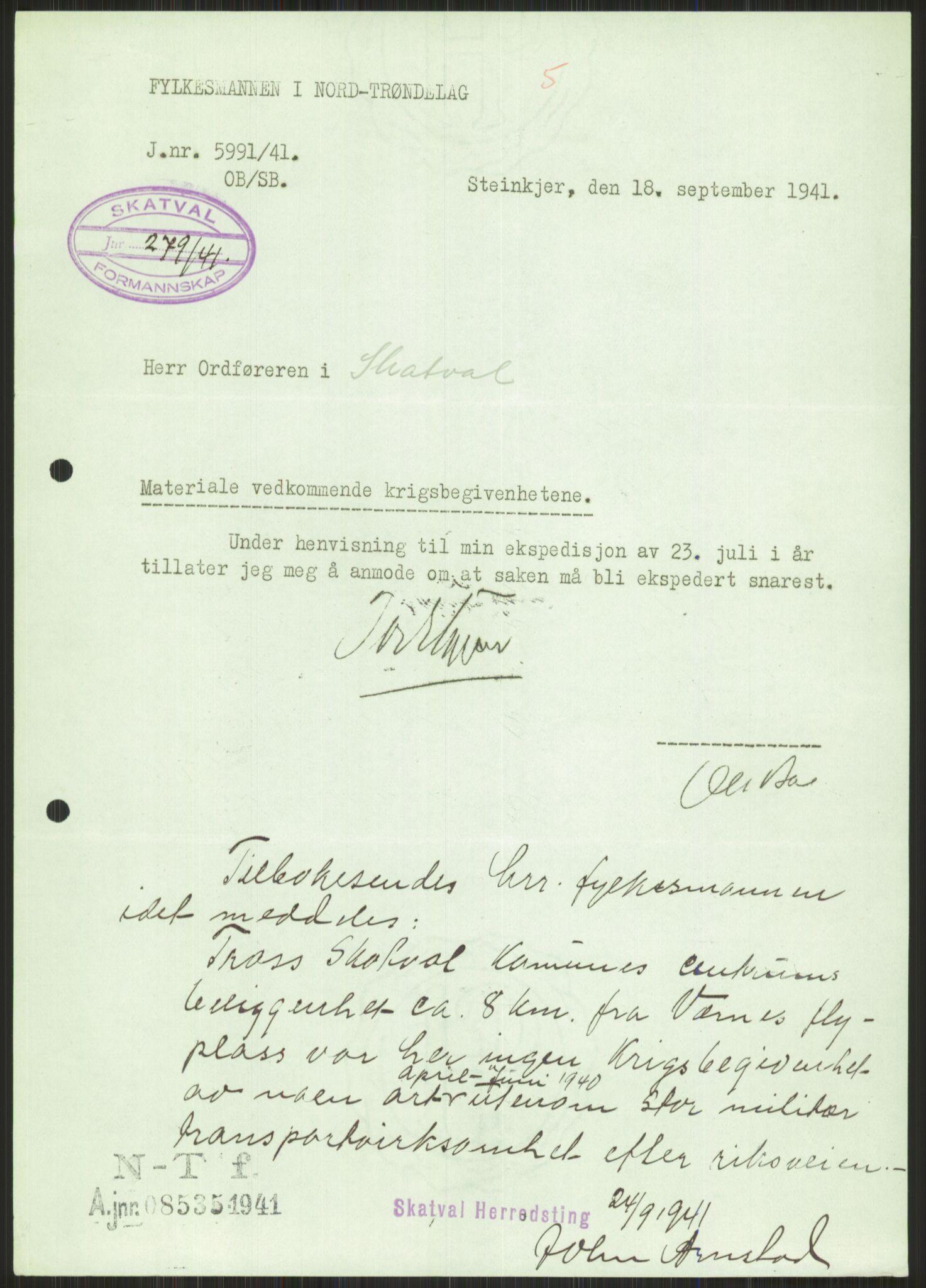 RA, Forsvaret, Forsvarets krigshistoriske avdeling, Y/Ya/L0016: II-C-11-31 - Fylkesmenn.  Rapporter om krigsbegivenhetene 1940., 1940, s. 561