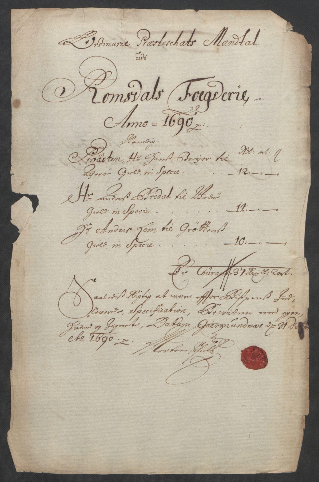 RA, Rentekammeret inntil 1814, Reviderte regnskaper, Fogderegnskap, R55/L3649: Fogderegnskap Romsdal, 1690-1691, s. 160