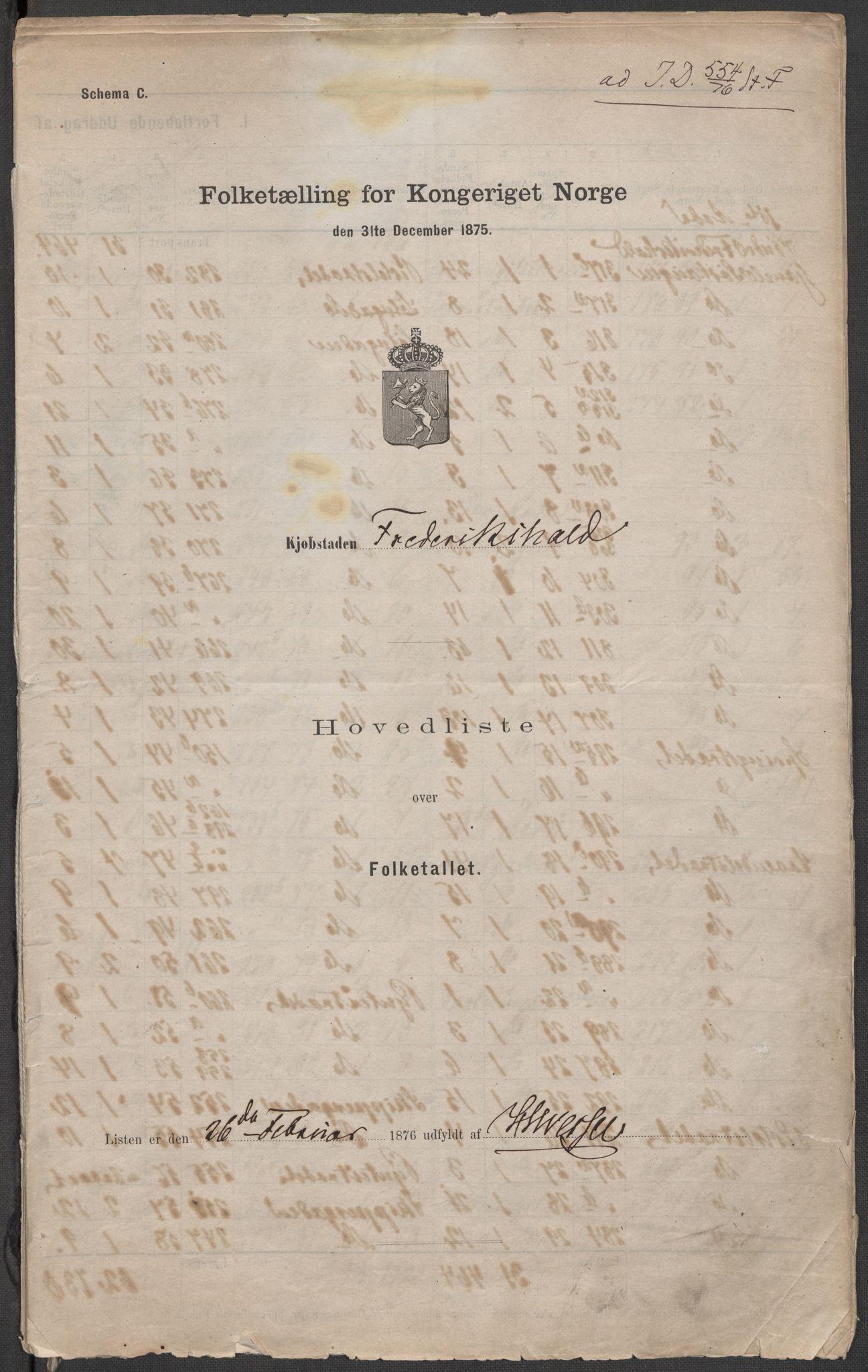 RA, Folketelling 1875 for 0101P Fredrikshald prestegjeld, 1875, s. 1