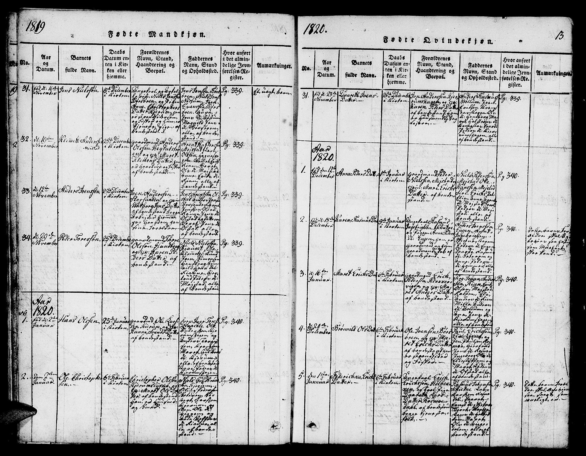 SAT, Ministerialprotokoller, klokkerbøker og fødselsregistre - Sør-Trøndelag, 665/L0776: Klokkerbok nr. 665C01, 1817-1837, s. 13