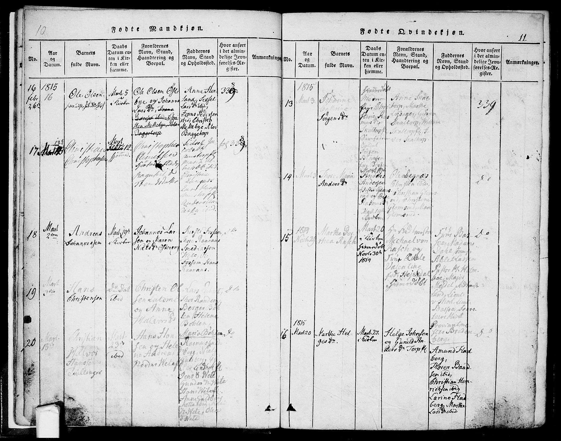 SAO, Eidsberg prestekontor Kirkebøker, F/Fa/L0007: Ministerialbok nr. I 7, 1814-1832, s. 11