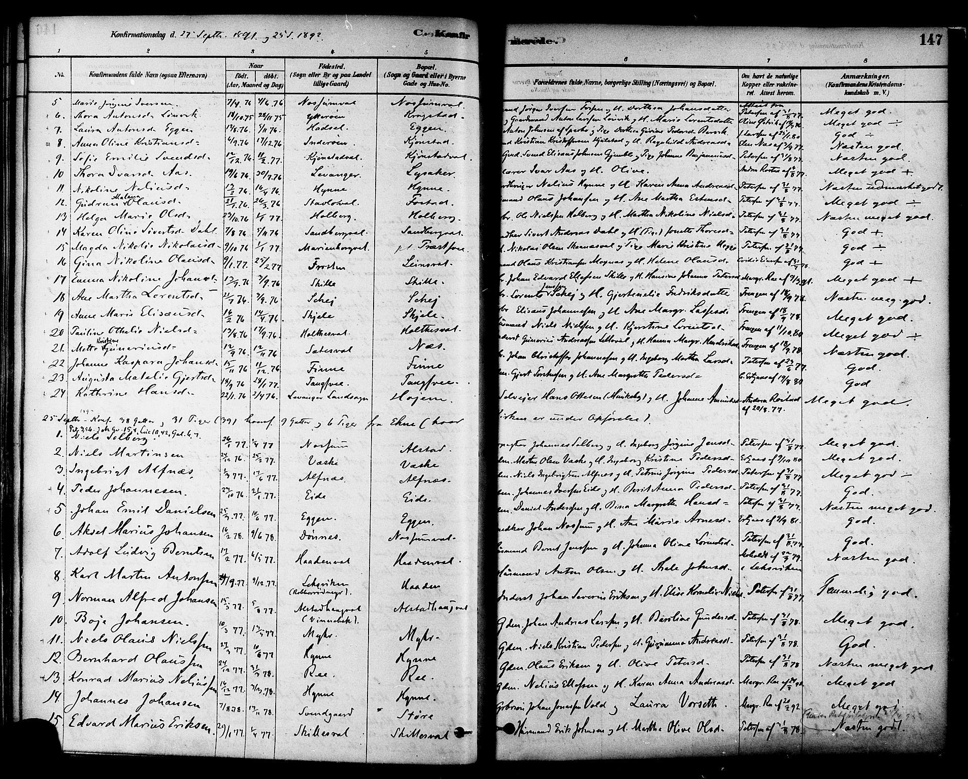 SAT, Ministerialprotokoller, klokkerbøker og fødselsregistre - Nord-Trøndelag, 717/L0159: Ministerialbok nr. 717A09, 1878-1898, s. 147