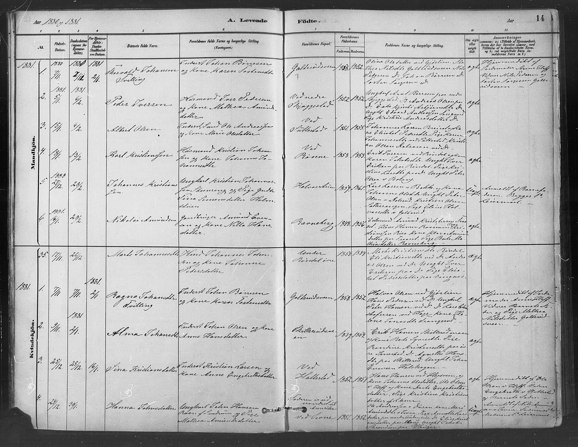 SAH, Fåberg prestekontor, Ministerialbok nr. 9, 1879-1898, s. 14
