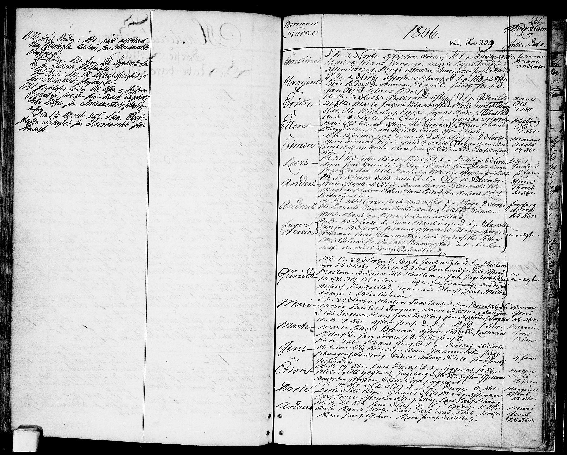SAO, Asker prestekontor Kirkebøker, F/Fa/L0003: Ministerialbok nr. I 3, 1767-1807, s. 261