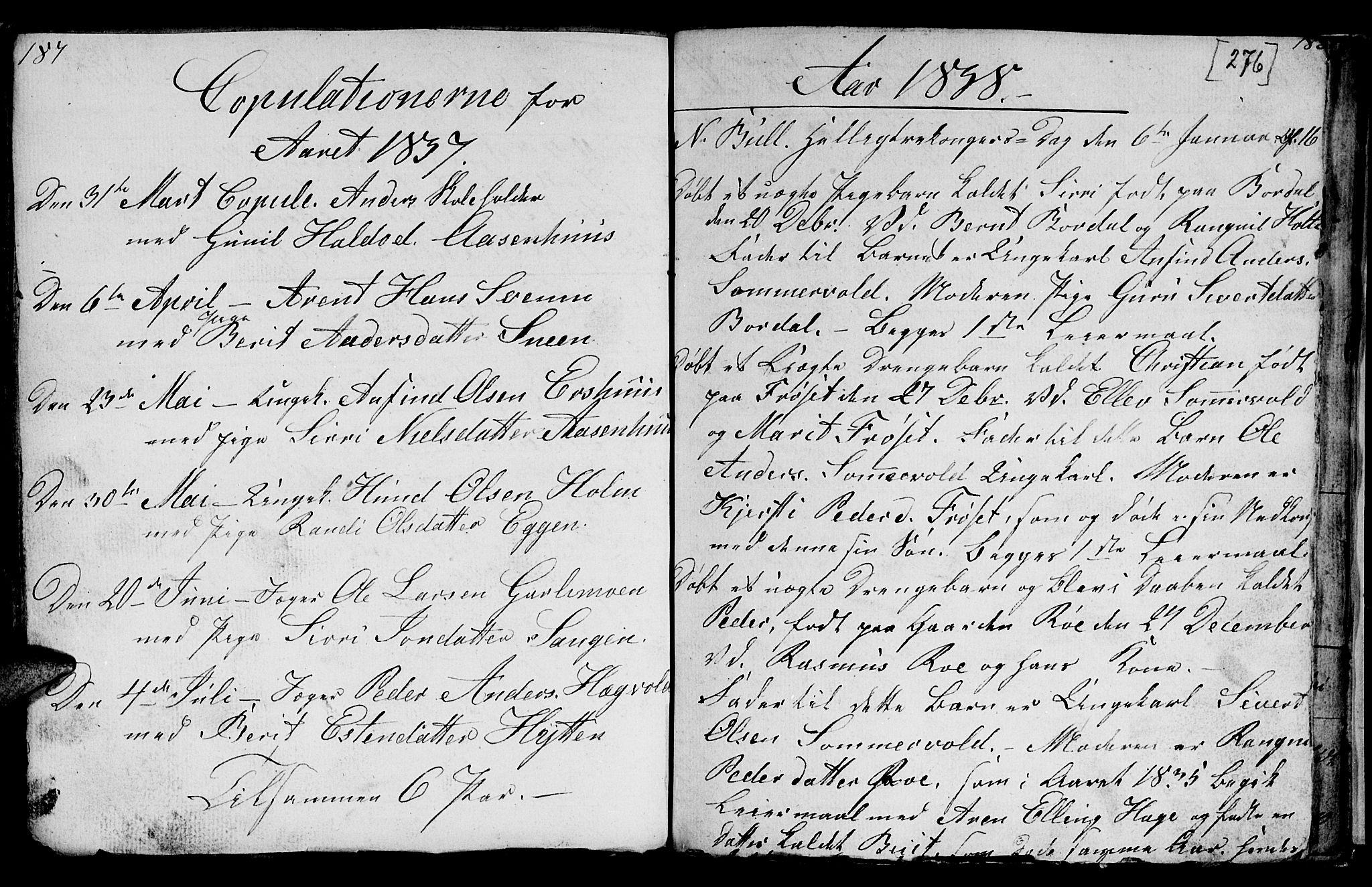 SAT, Ministerialprotokoller, klokkerbøker og fødselsregistre - Sør-Trøndelag, 689/L1042: Klokkerbok nr. 689C01, 1812-1841, s. 275-276