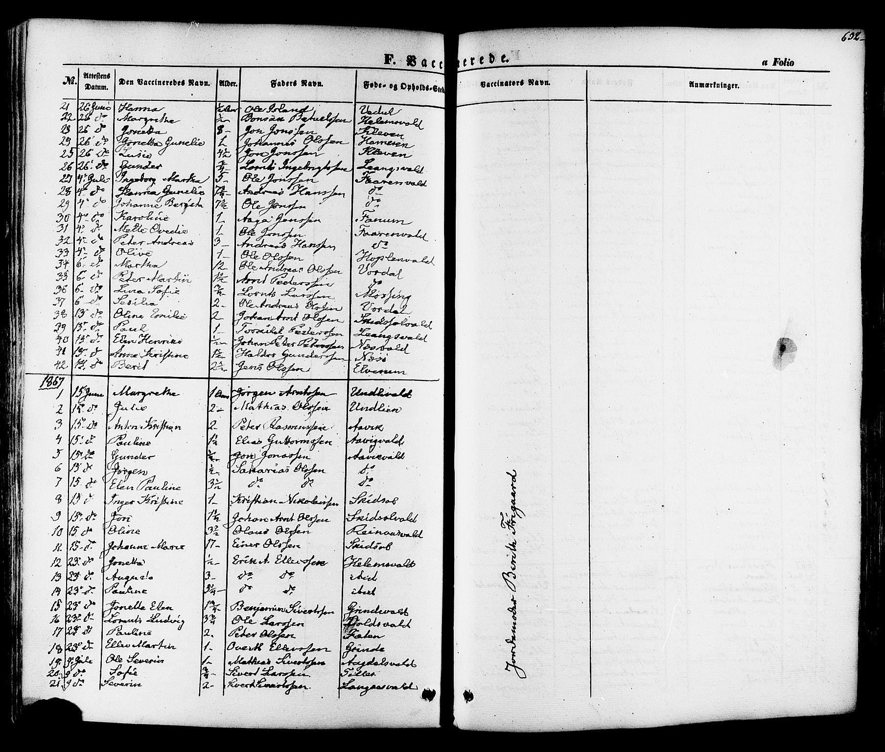 SAT, Ministerialprotokoller, klokkerbøker og fødselsregistre - Nord-Trøndelag, 713/L0116: Ministerialbok nr. 713A07 /1, 1850-1877, s. 632