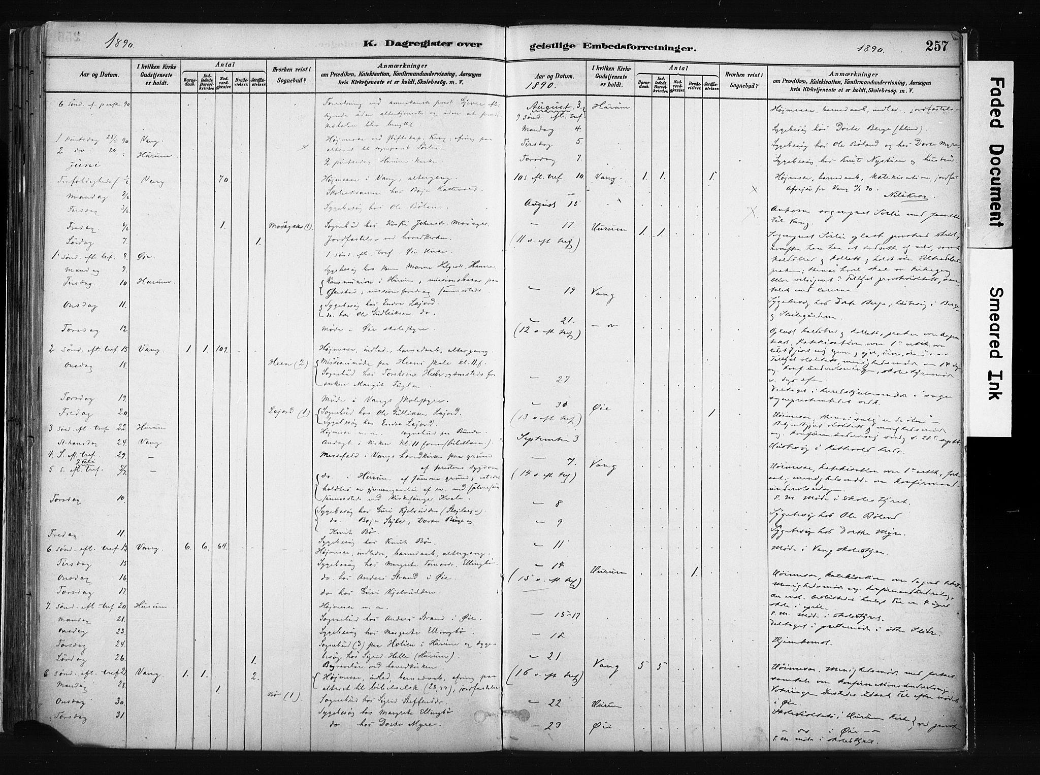 SAH, Vang prestekontor, Valdres, Ministerialbok nr. 8, 1882-1910, s. 257