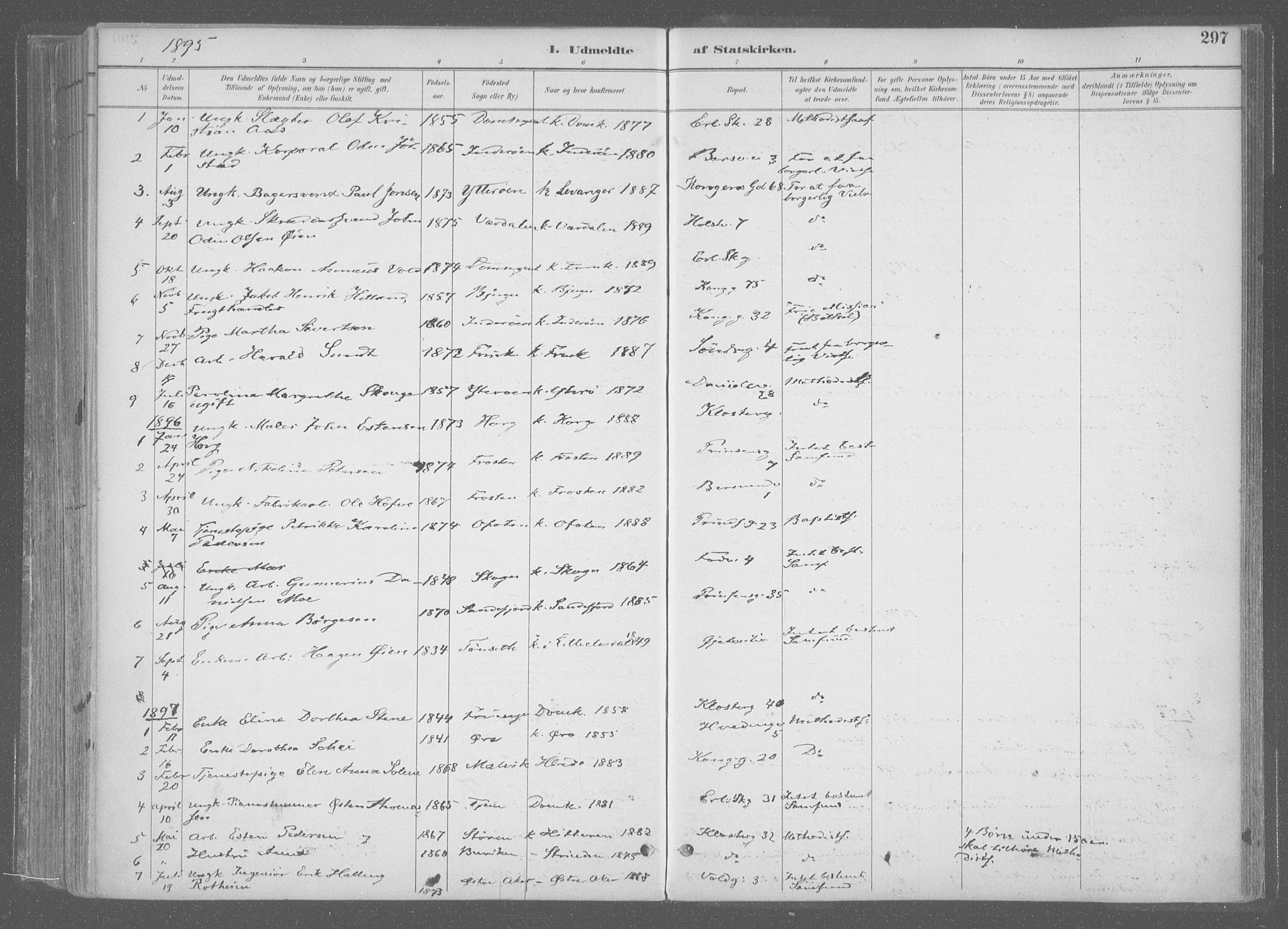 SAT, Ministerialprotokoller, klokkerbøker og fødselsregistre - Sør-Trøndelag, 601/L0064: Ministerialbok nr. 601A31, 1891-1911, s. 297