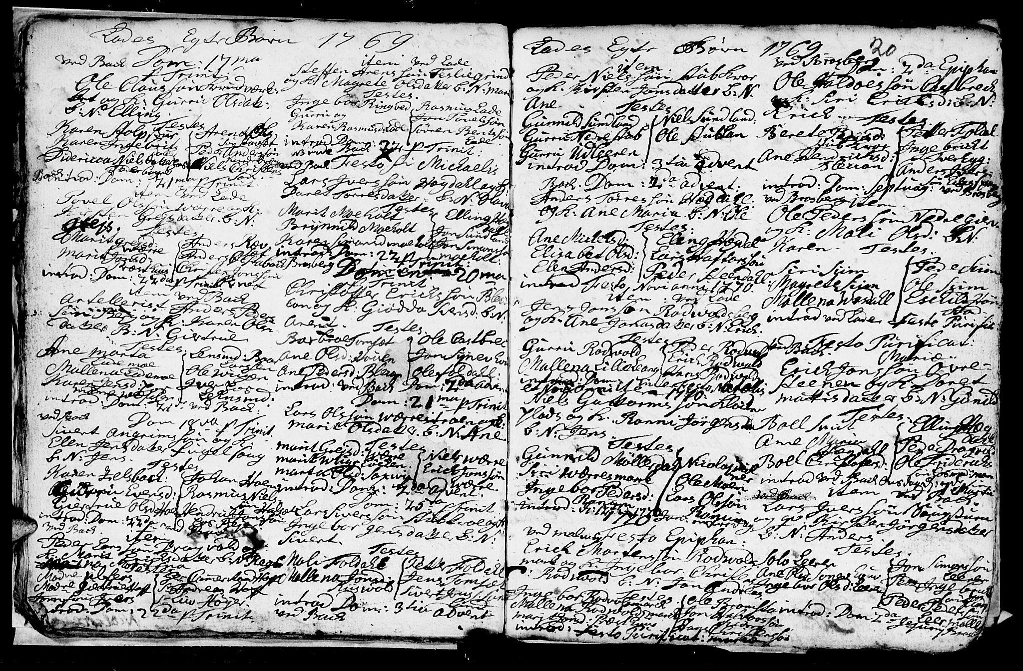 SAT, Ministerialprotokoller, klokkerbøker og fødselsregistre - Sør-Trøndelag, 606/L0305: Klokkerbok nr. 606C01, 1757-1819, s. 20