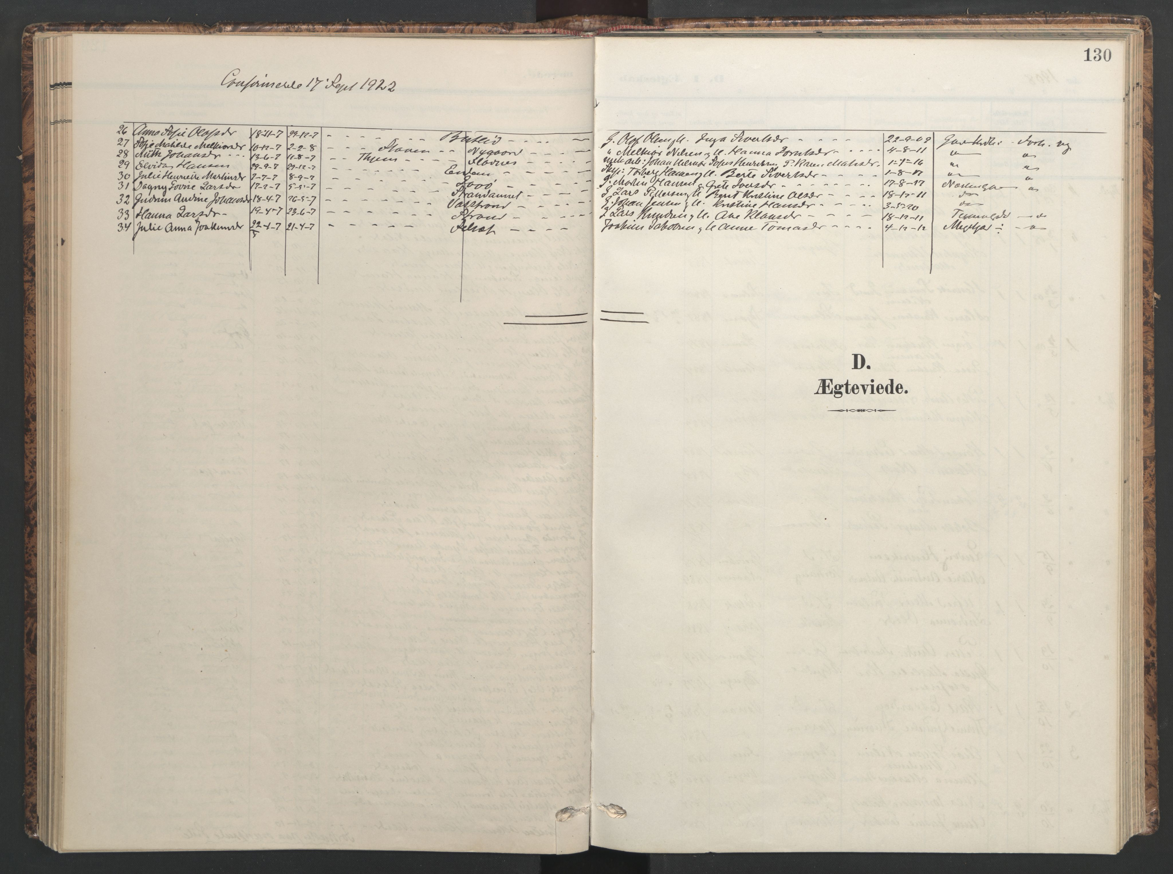 SAT, Ministerialprotokoller, klokkerbøker og fødselsregistre - Sør-Trøndelag, 655/L0682: Ministerialbok nr. 655A11, 1908-1922, s. 130