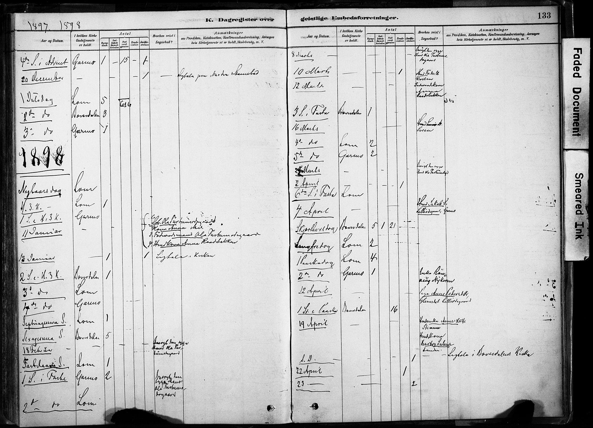 SAH, Lom prestekontor, K/L0009: Ministerialbok nr. 9, 1878-1907, s. 133
