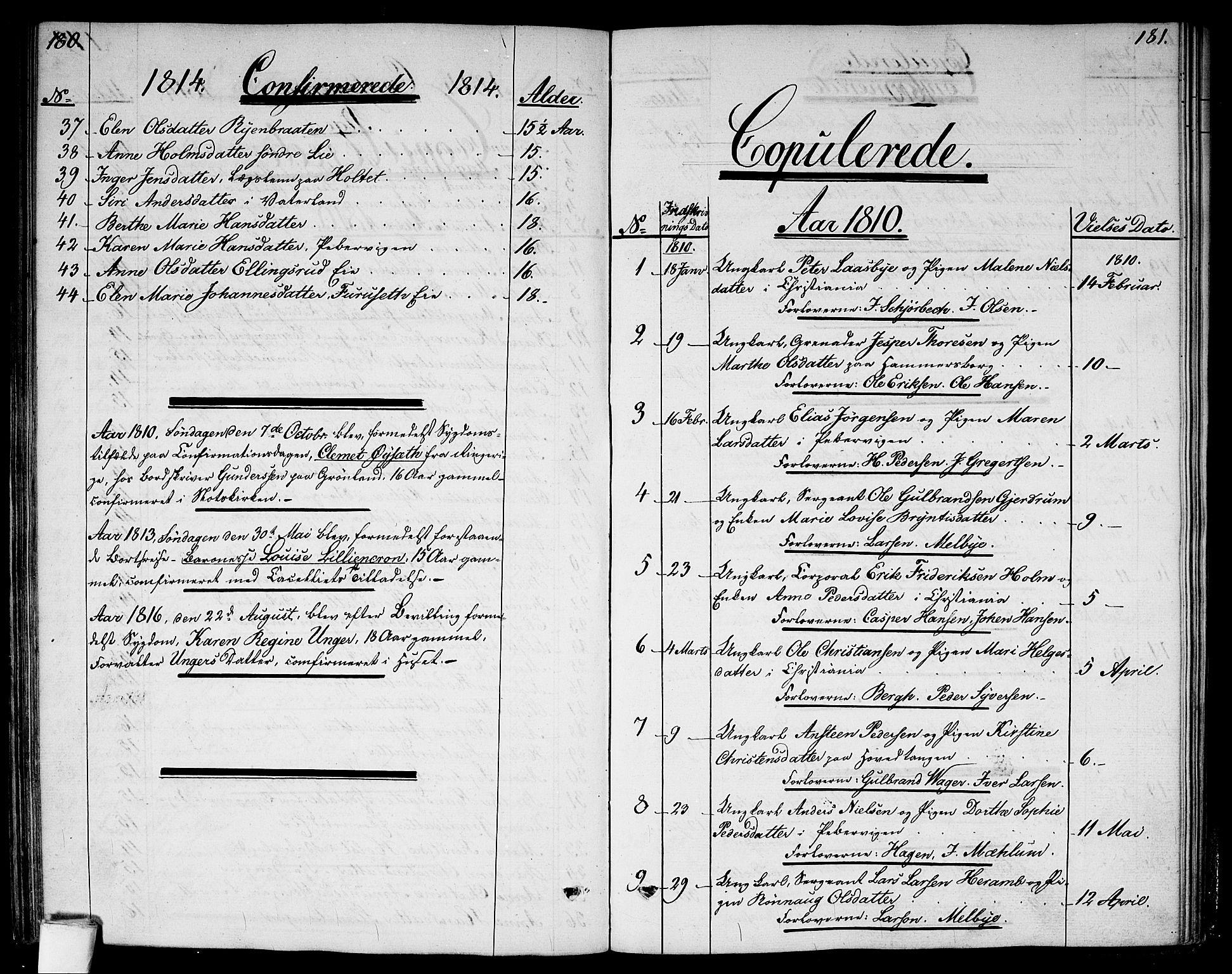 SAO, Garnisonsmenigheten Kirkebøker, G/Ga/L0002: Klokkerbok nr. 2, 1810-1814, s. 180-181