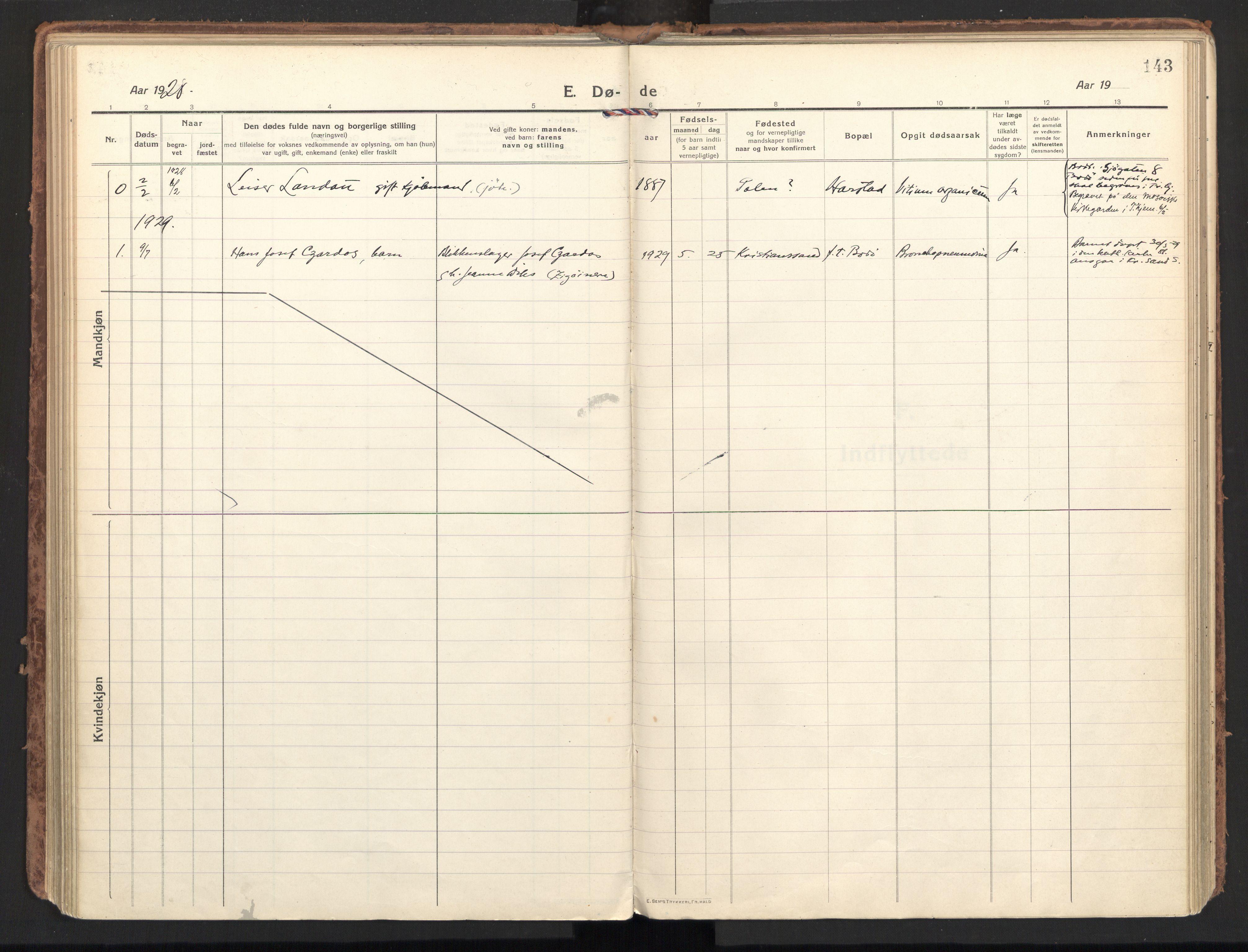 SAT, Ministerialprotokoller, klokkerbøker og fødselsregistre - Nordland, 801/L0018: Ministerialbok nr. 801A18, 1916-1930, s. 143