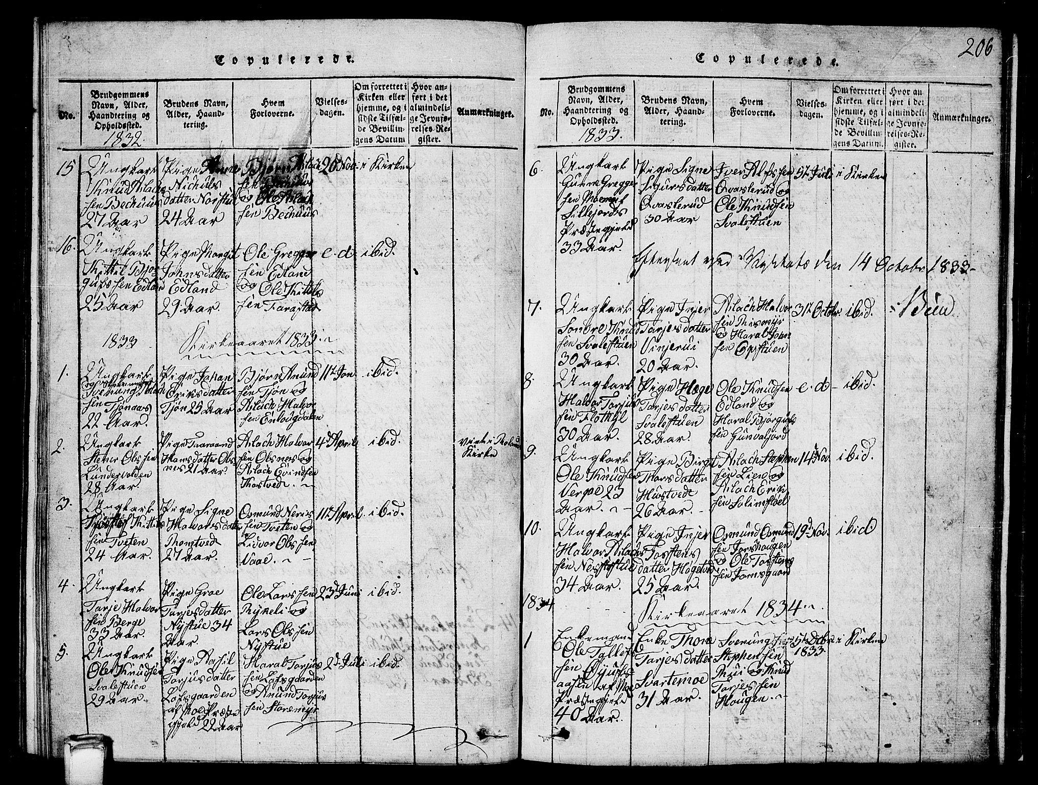 SAKO, Vinje kirkebøker, G/Ga/L0001: Klokkerbok nr. I 1, 1814-1843, s. 206