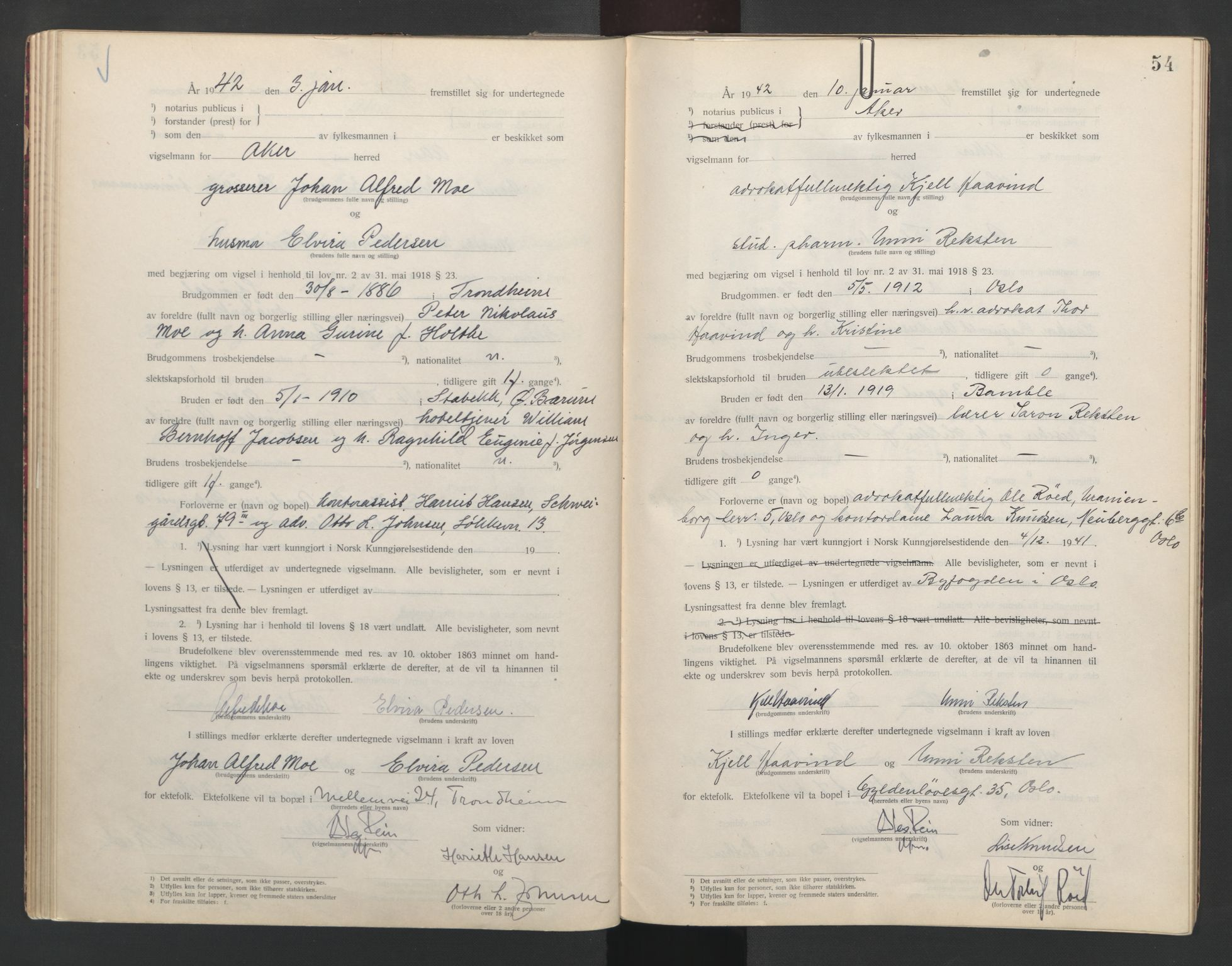 SAO, Aker sorenskriveri, L/Lc/Lcb/L0014: Vigselprotokoll, 1941-1942, s. 54