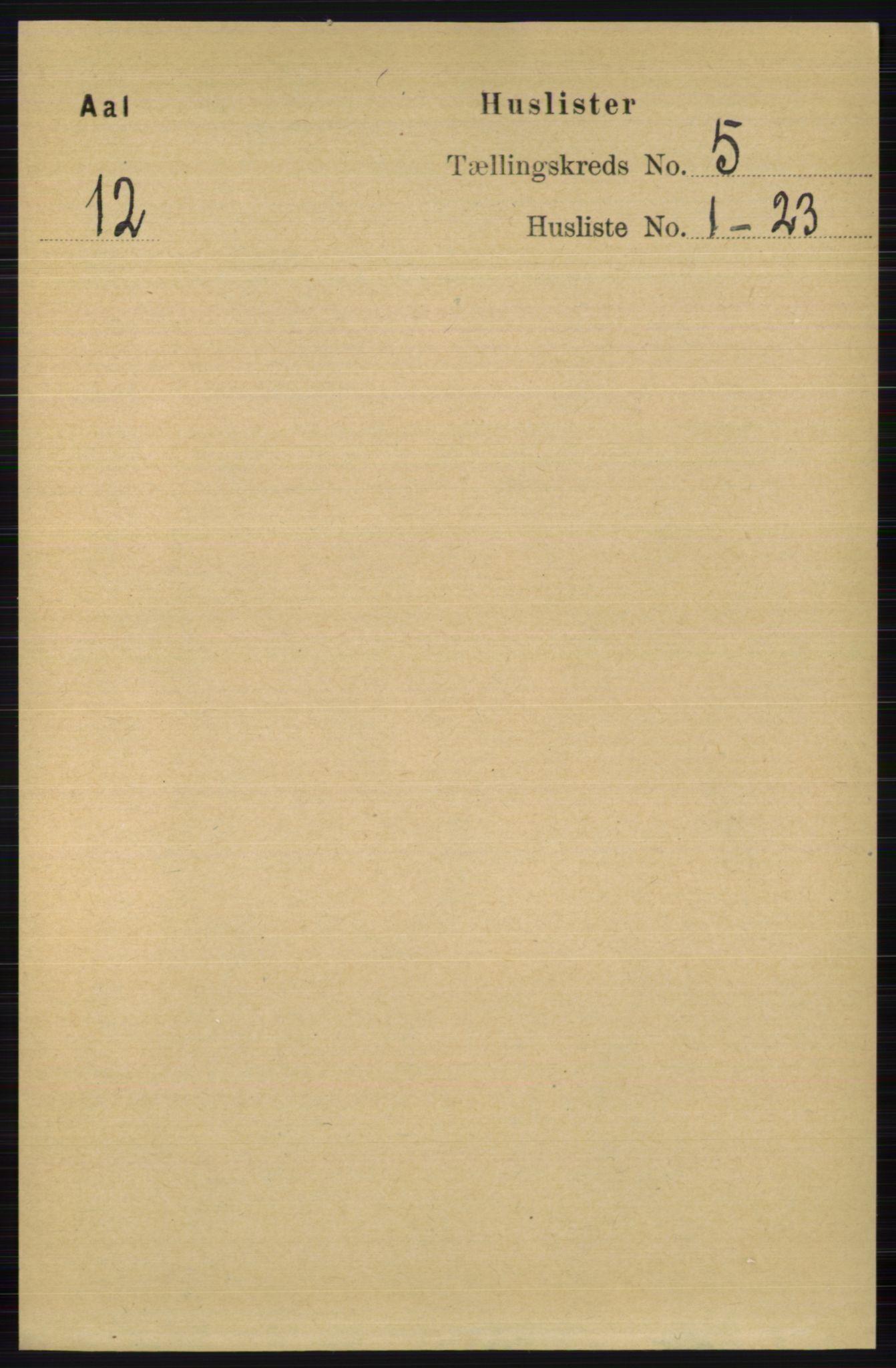 RA, Folketelling 1891 for 0619 Ål herred, 1891, s. 1335