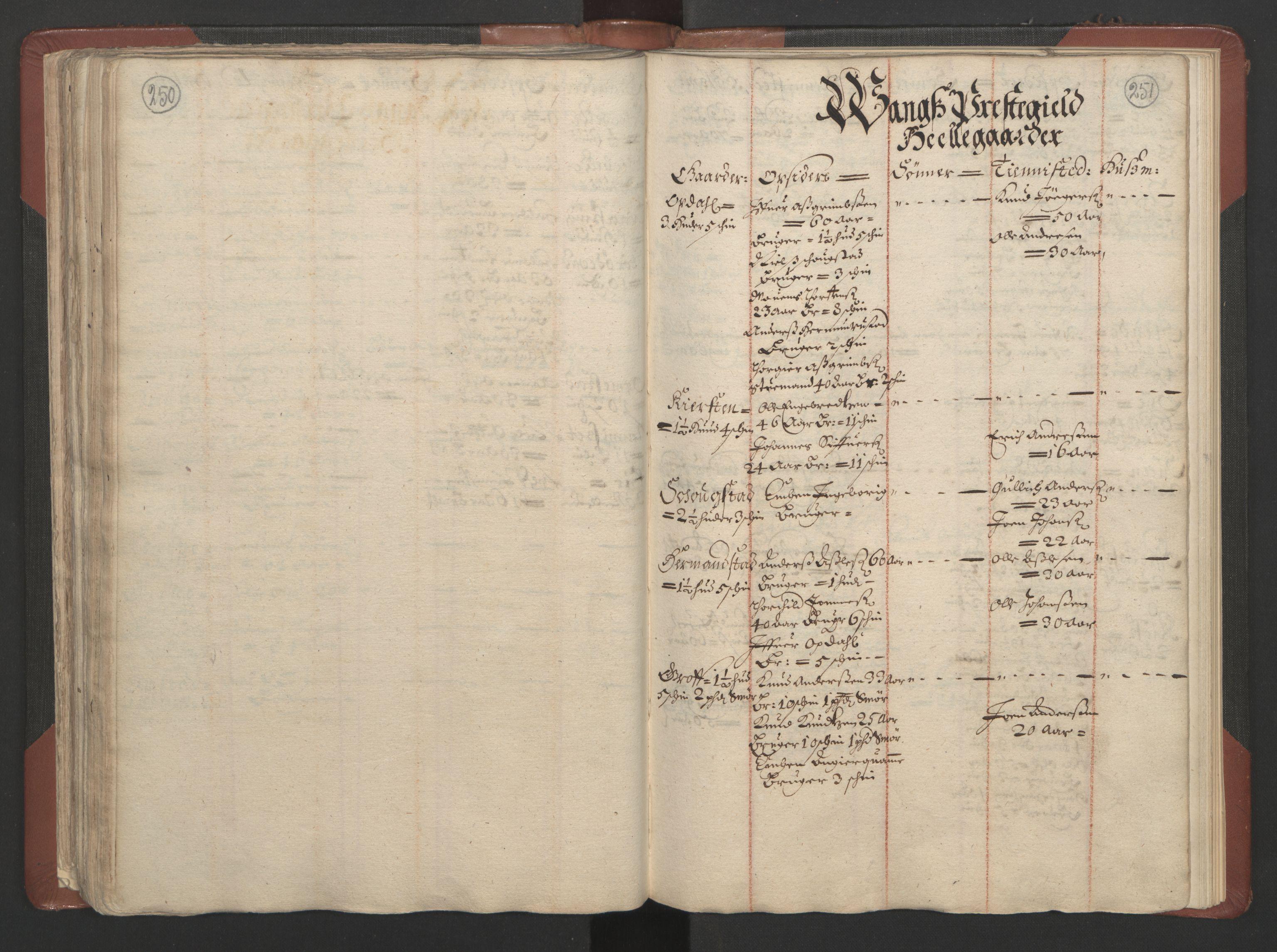 RA, Fogdenes og sorenskrivernes manntall 1664-1666, nr. 4: Hadeland og Valdres fogderi og Gudbrandsdal fogderi, 1664, s. 250-251