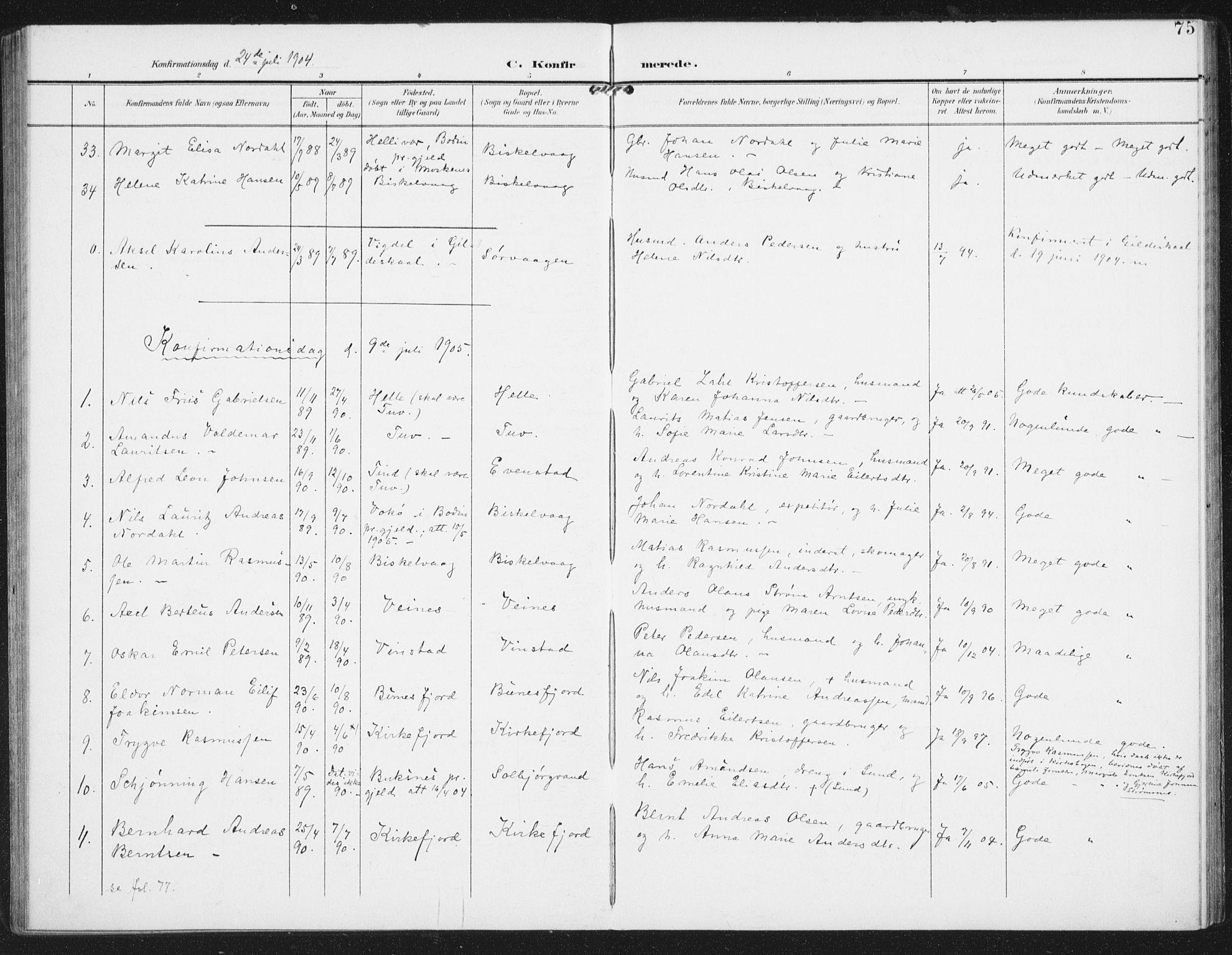 SAT, Ministerialprotokoller, klokkerbøker og fødselsregistre - Nordland, 886/L1221: Ministerialbok nr. 886A03, 1903-1913, s. 75