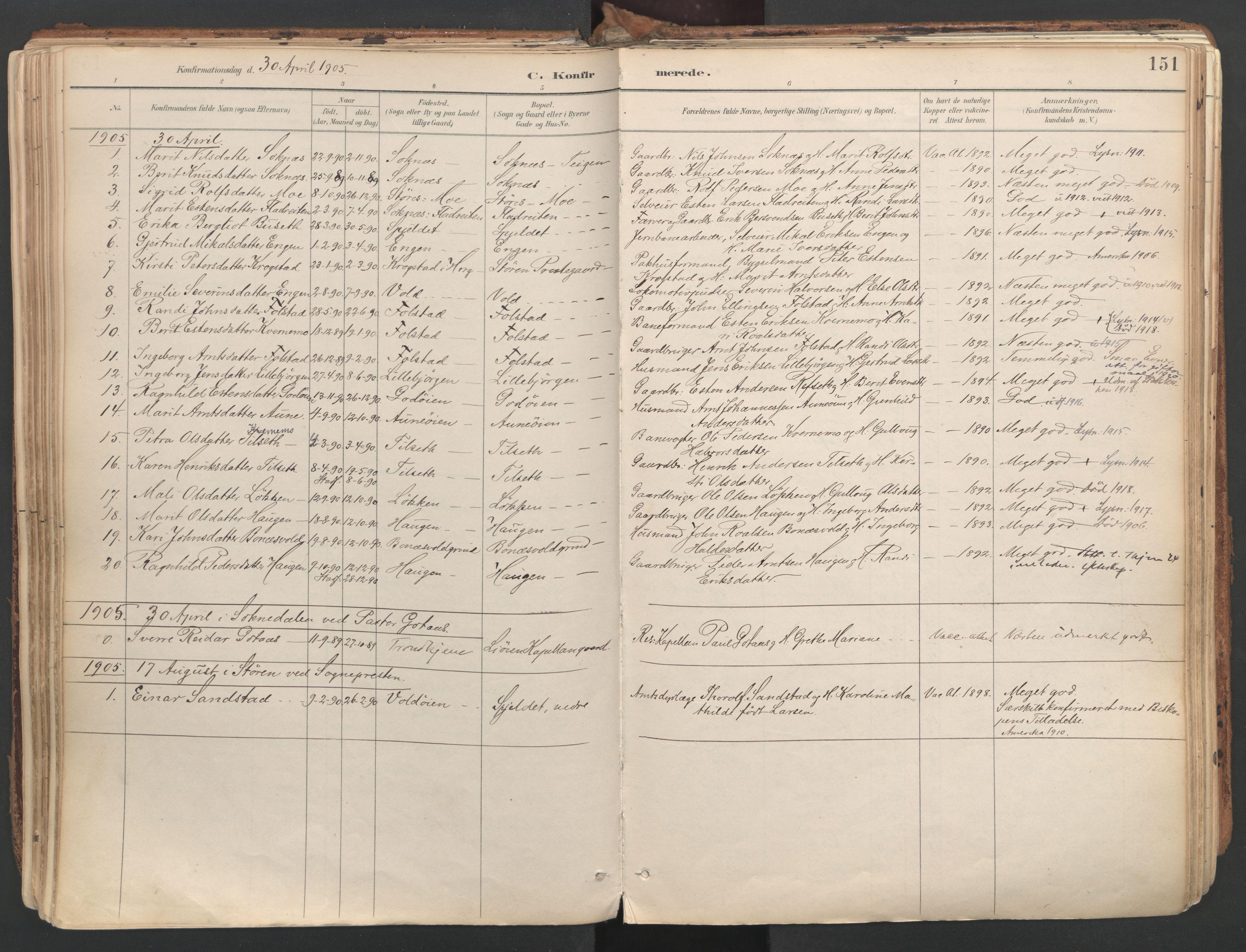 SAT, Ministerialprotokoller, klokkerbøker og fødselsregistre - Sør-Trøndelag, 687/L1004: Ministerialbok nr. 687A10, 1891-1923, s. 151