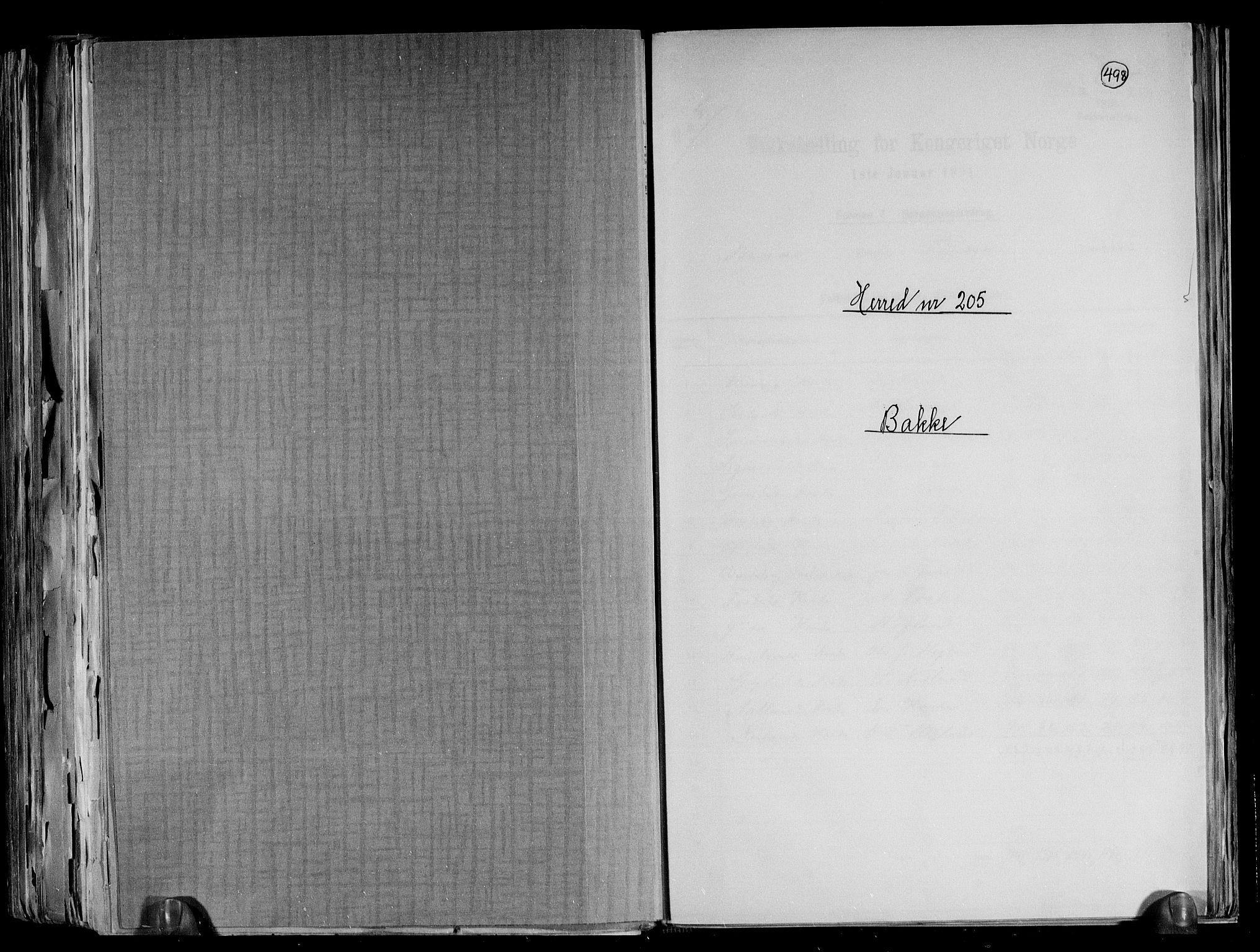 RA, Folketelling 1891 for 1045 Bakke herred, 1891, s. 1