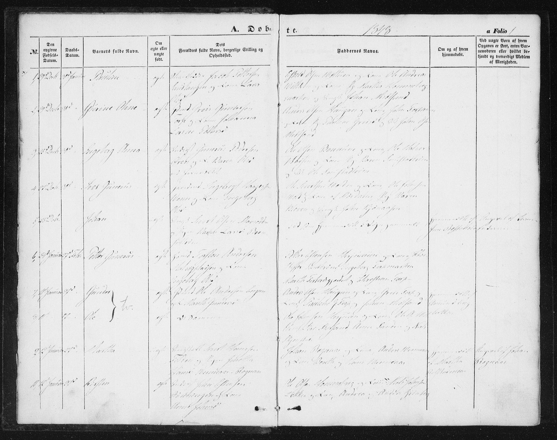 SAT, Ministerialprotokoller, klokkerbøker og fødselsregistre - Sør-Trøndelag, 616/L0407: Ministerialbok nr. 616A04, 1848-1856, s. 1