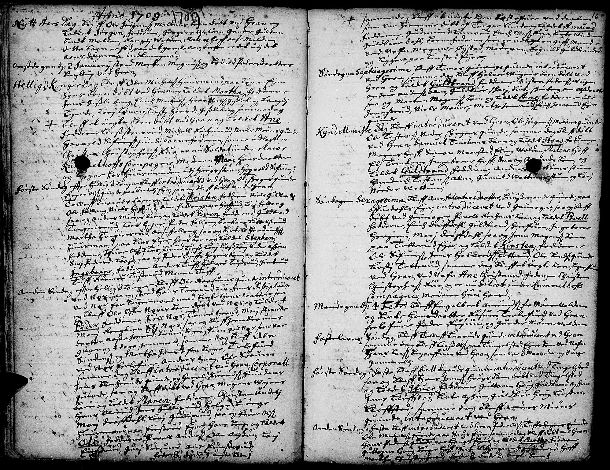 SAH, Gran prestekontor, Ministerialbok nr. 1, 1707-1731, s. 16