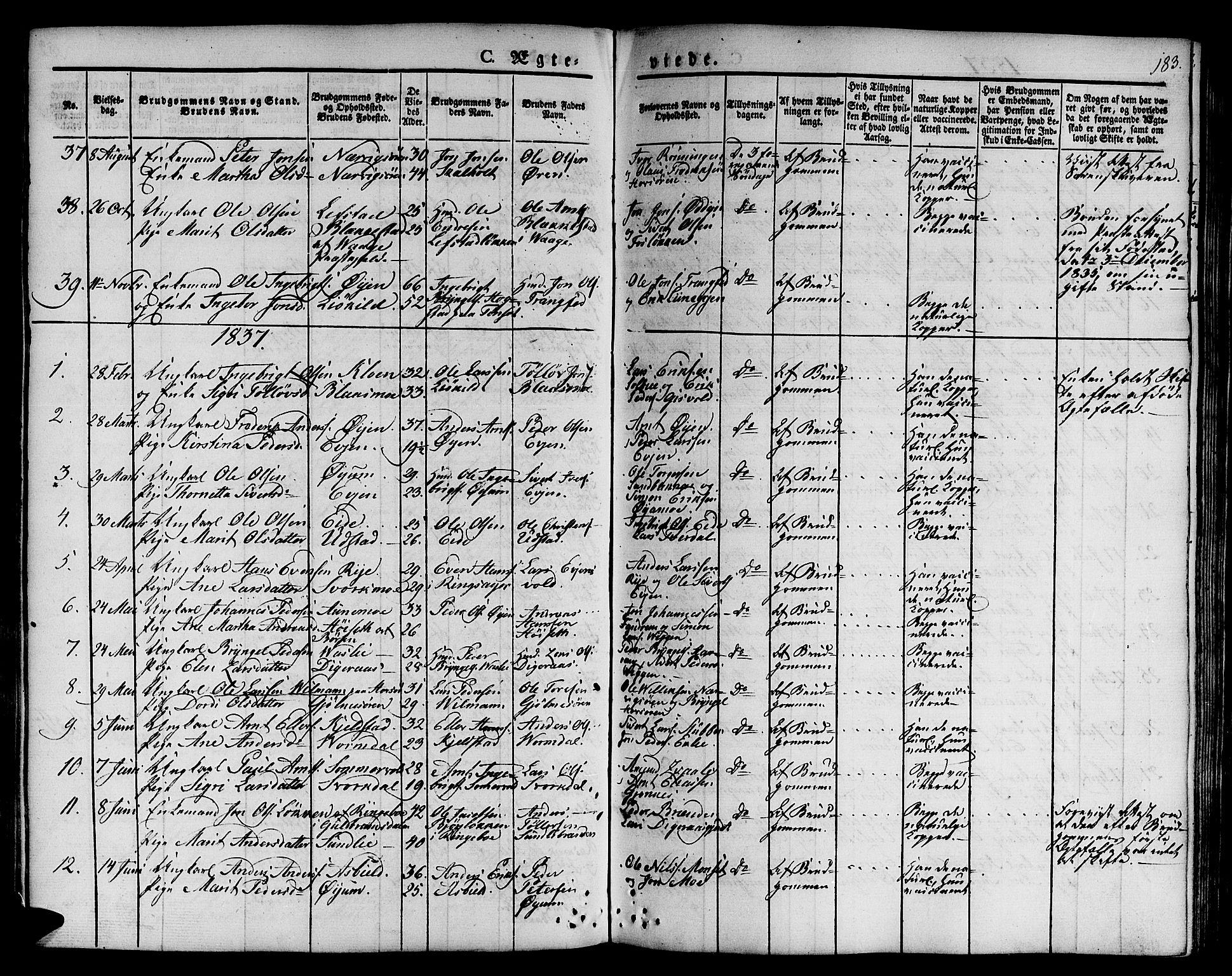 SAT, Ministerialprotokoller, klokkerbøker og fødselsregistre - Sør-Trøndelag, 668/L0804: Ministerialbok nr. 668A04, 1826-1839, s. 183
