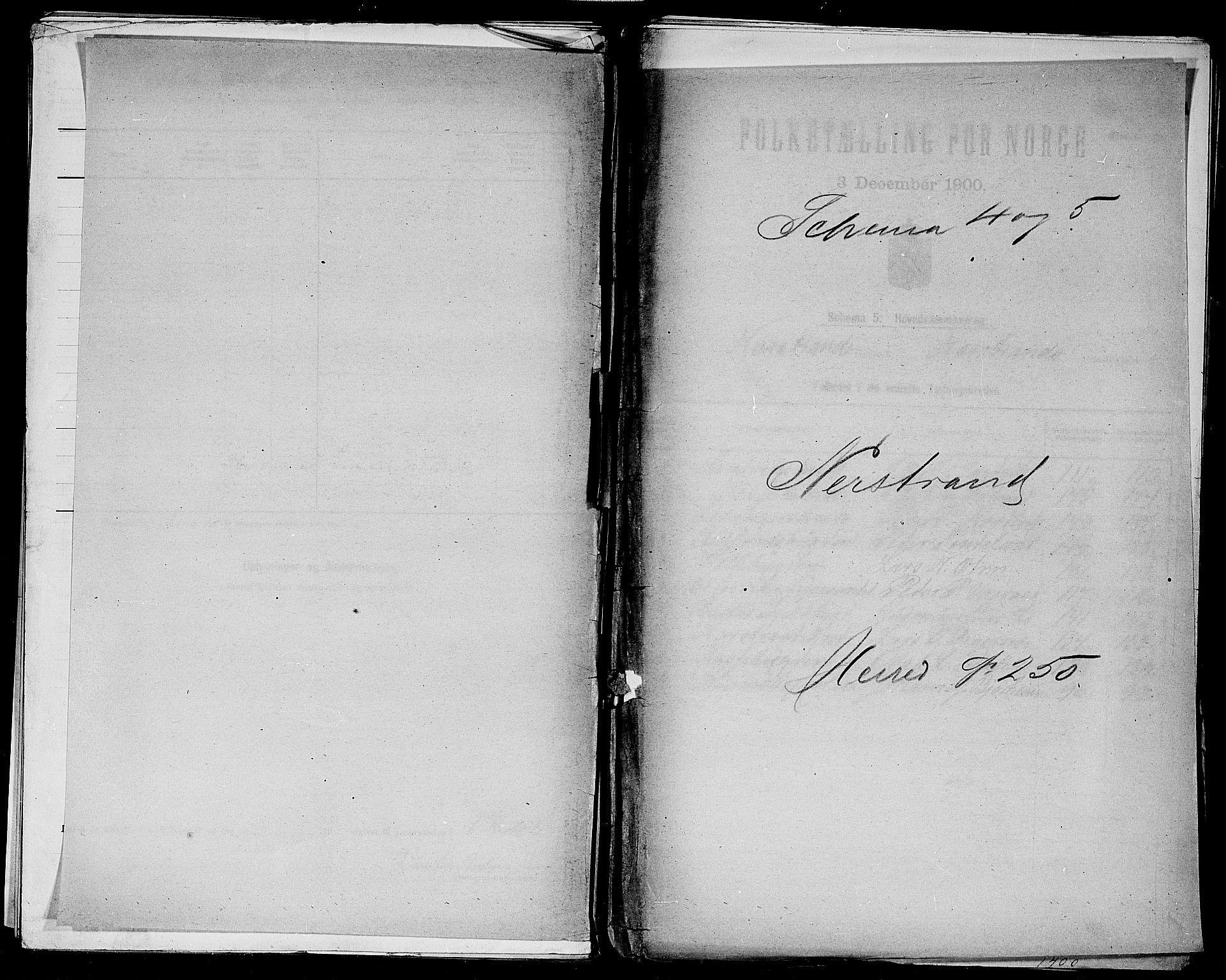 SAST, Folketelling 1900 for 1139 Nedstrand herred, 1900, s. 1