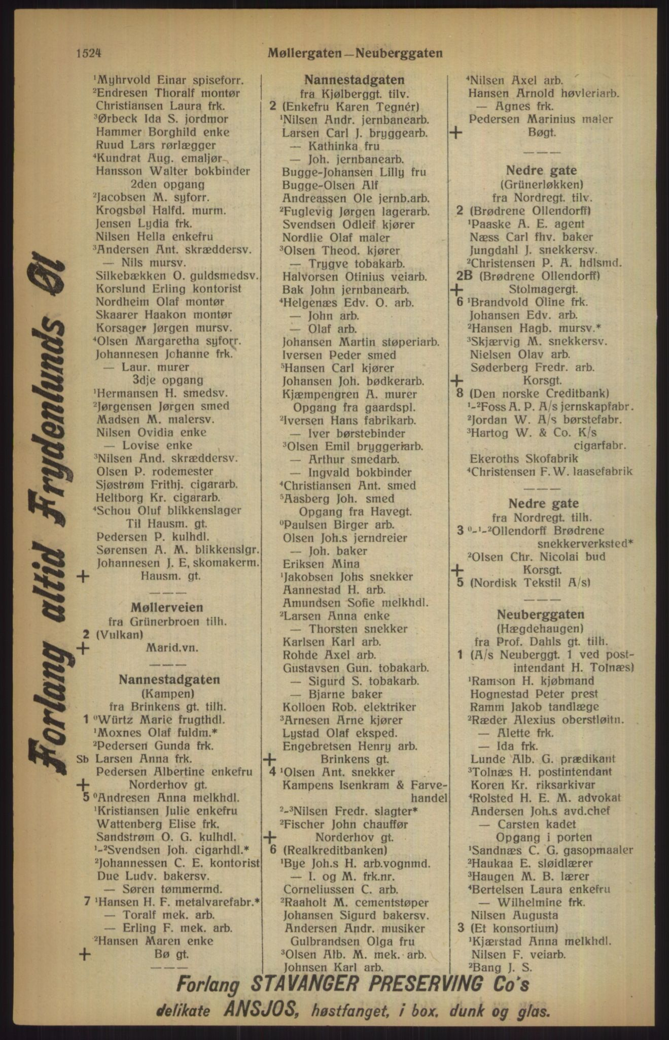 RA, Kristiania adressebok (publikasjon)*, 1915, s. 1524