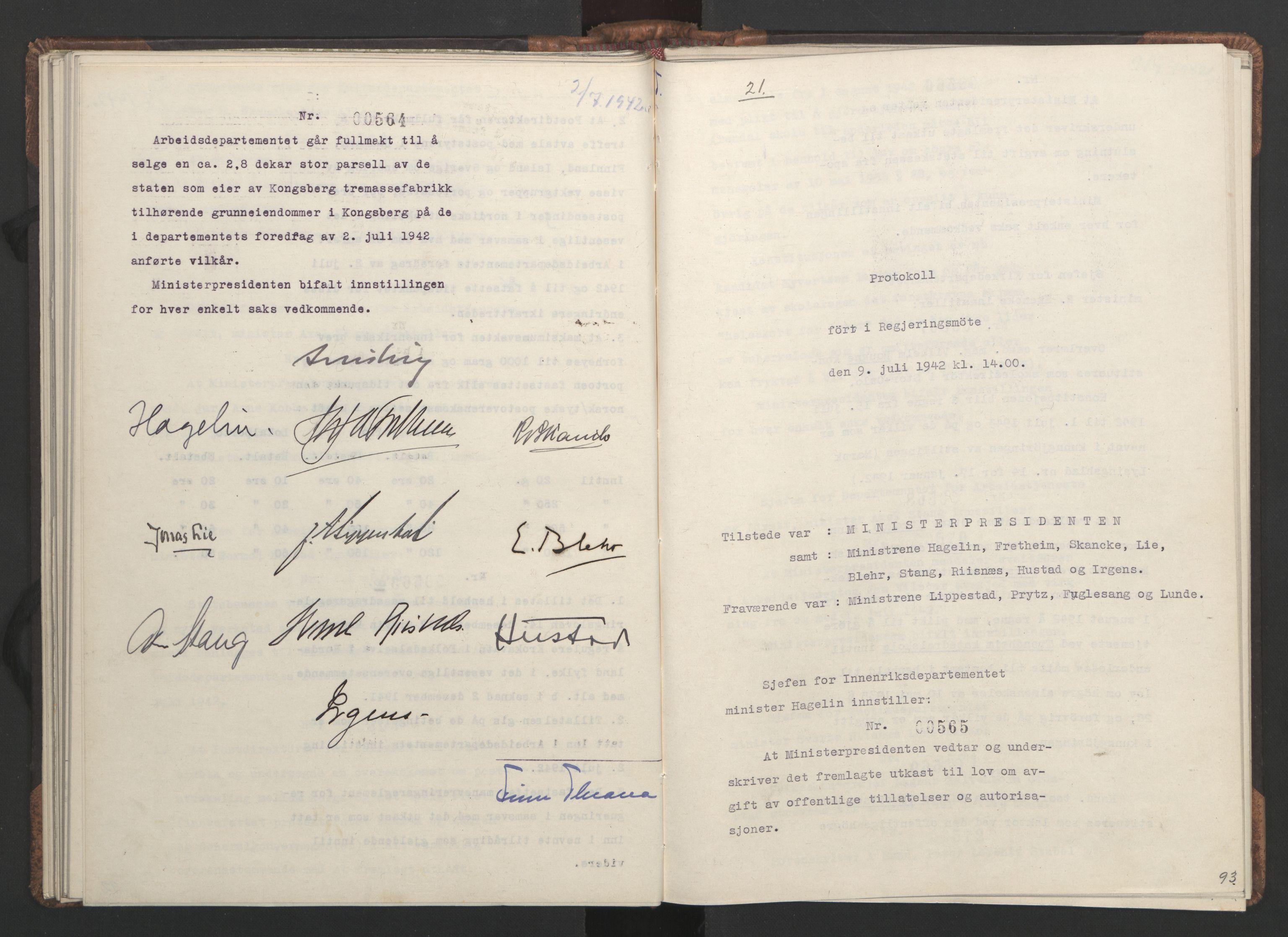 RA, NS-administrasjonen 1940-1945 (Statsrådsekretariatet, de kommisariske statsråder mm), D/Da/L0001: Beslutninger og tillegg (1-952 og 1-32), 1942, s. 92b-93a