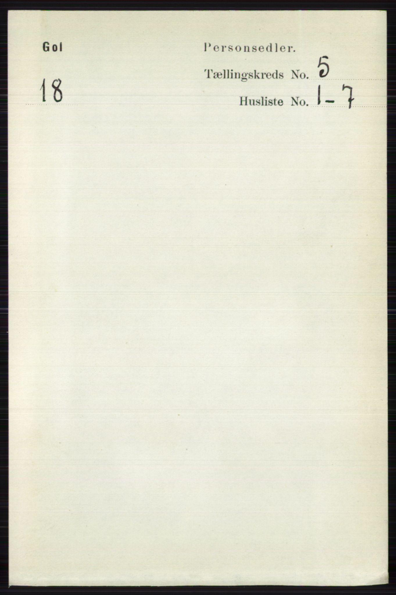 RA, Folketelling 1891 for 0617 Gol og Hemsedal herred, 1891, s. 2304