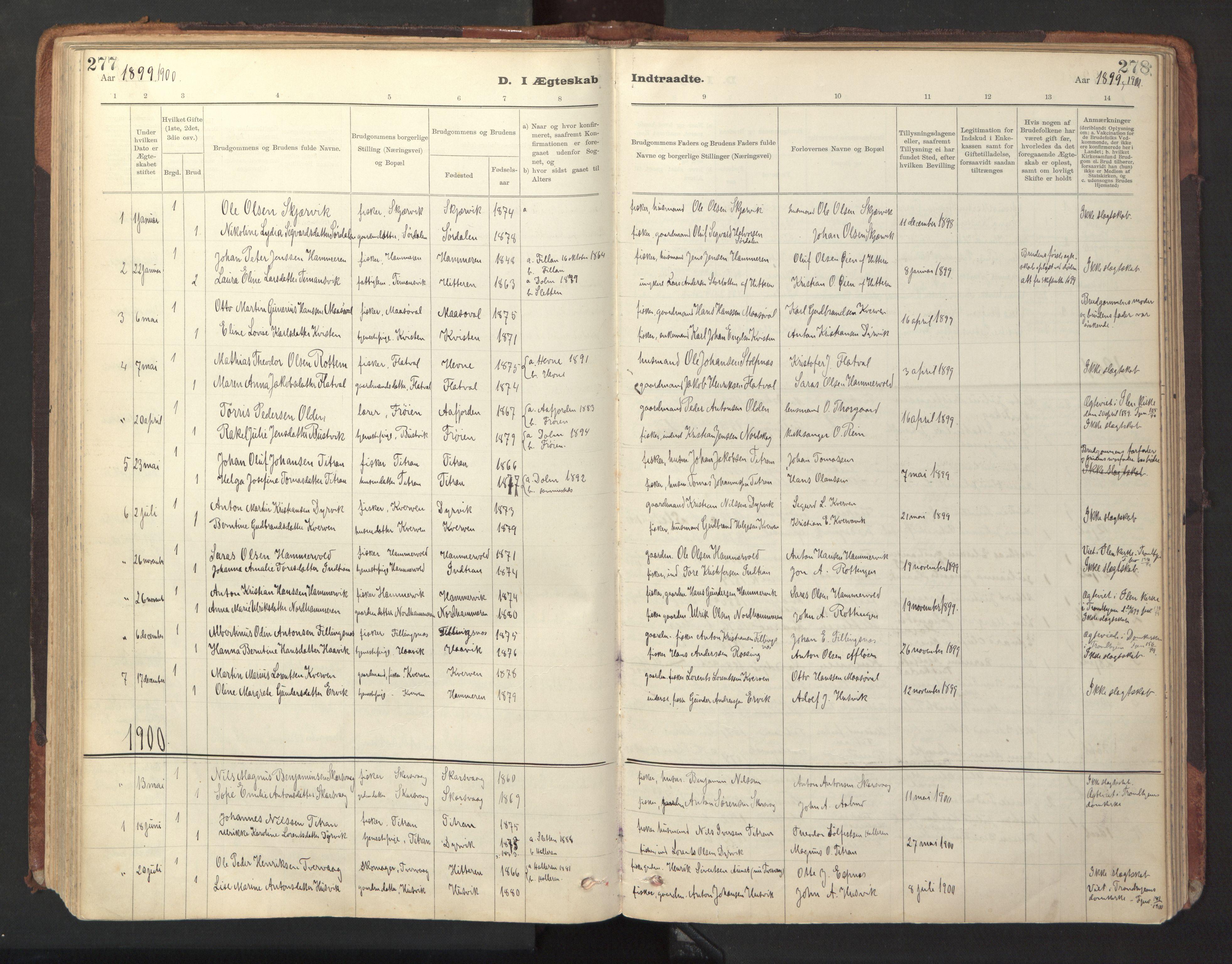 SAT, Ministerialprotokoller, klokkerbøker og fødselsregistre - Sør-Trøndelag, 641/L0596: Ministerialbok nr. 641A02, 1898-1915, s. 277-278