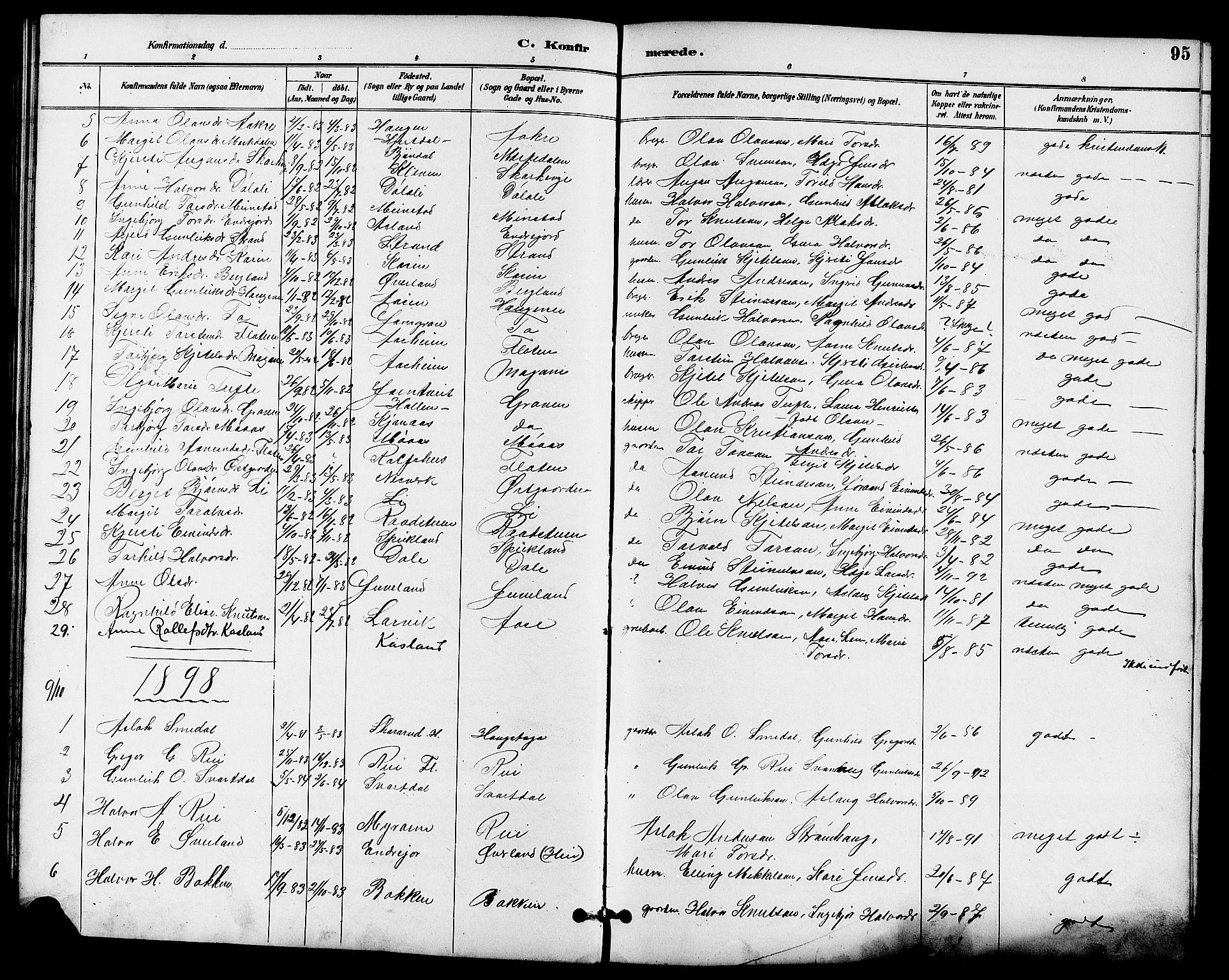 SAKO, Seljord kirkebøker, G/Ga/L0005: Klokkerbok nr. I 5, 1887-1914, s. 95