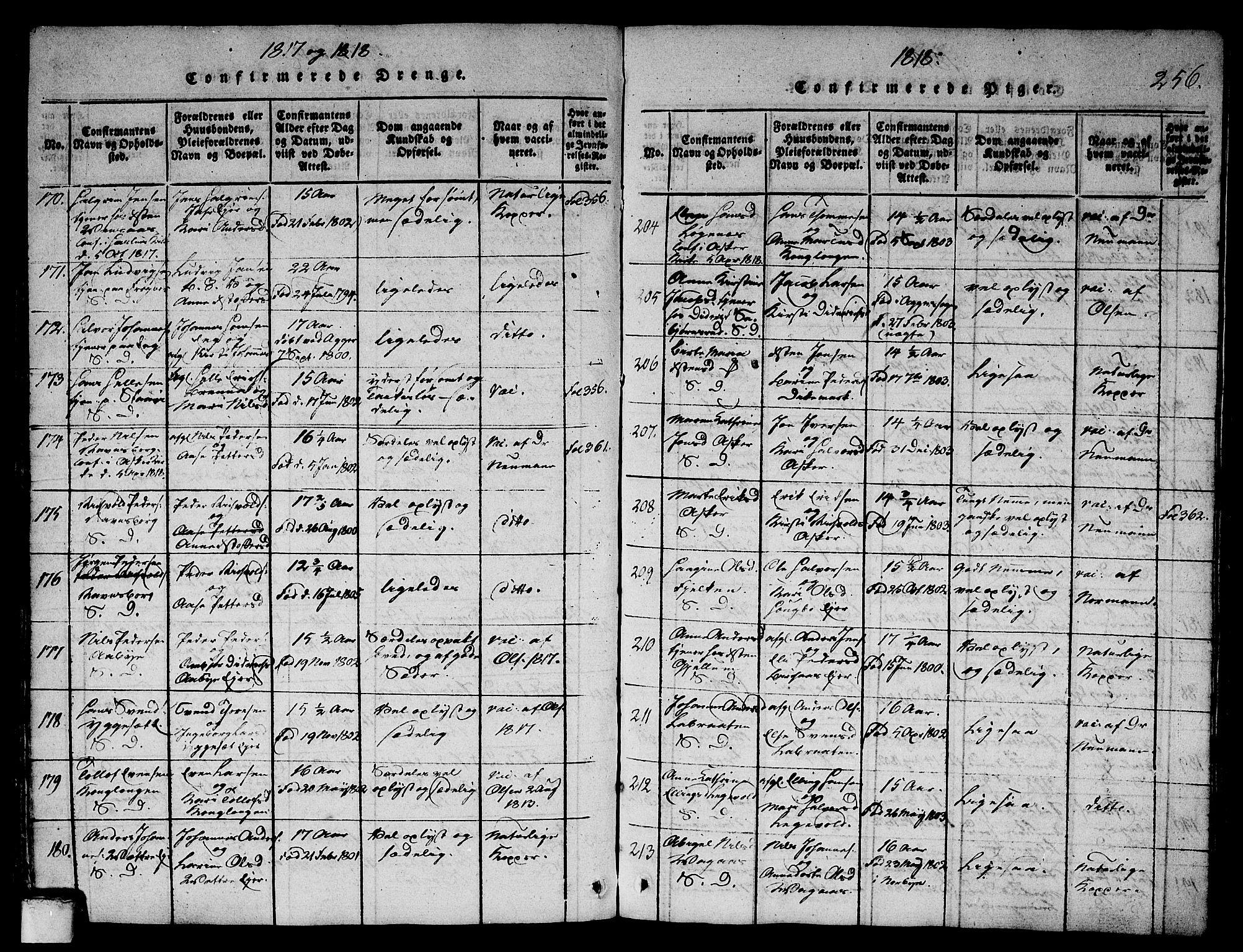 SAO, Asker prestekontor Kirkebøker, G/Ga/L0001: Klokkerbok nr. I 1, 1814-1830, s. 256