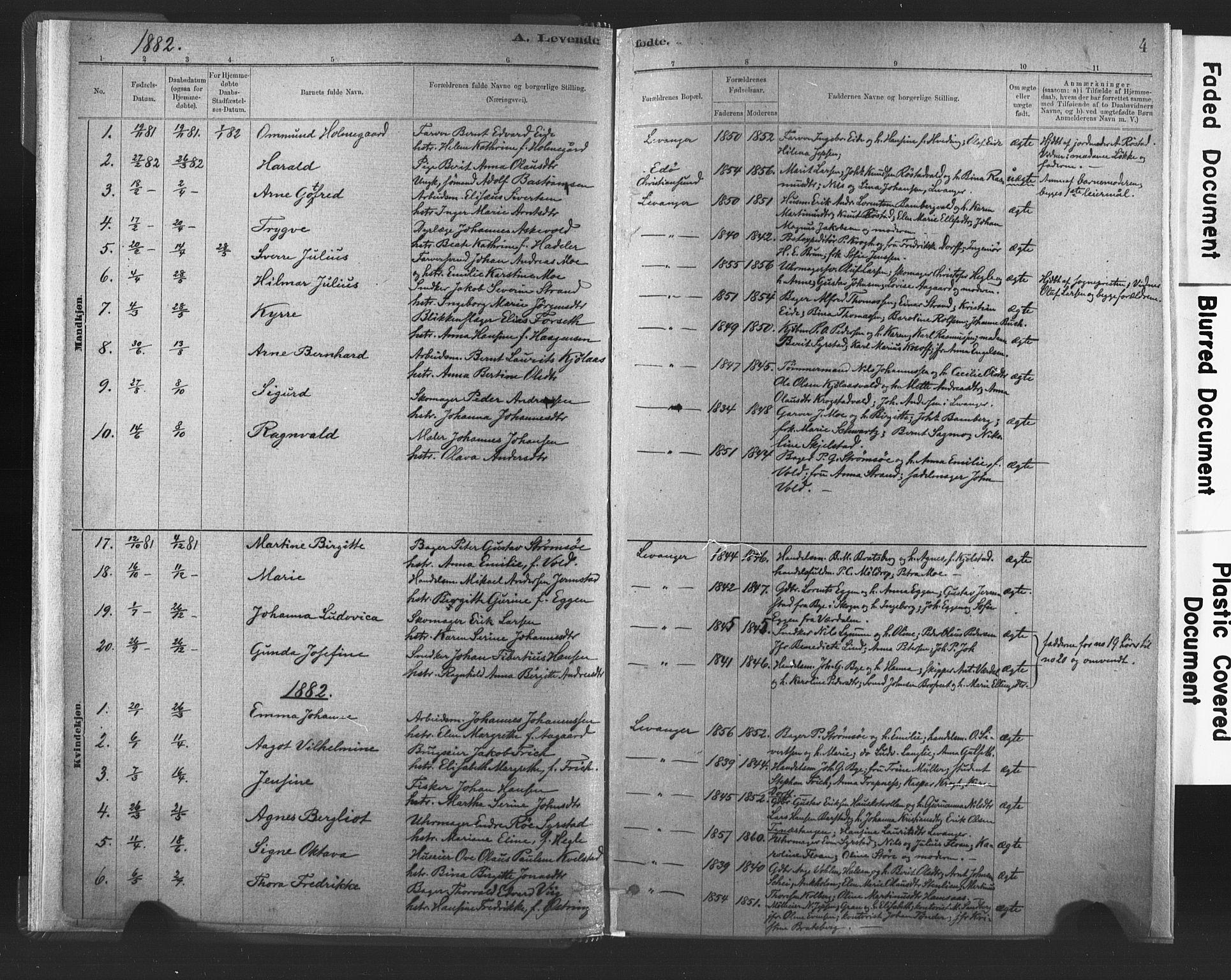 SAT, Ministerialprotokoller, klokkerbøker og fødselsregistre - Nord-Trøndelag, 720/L0189: Ministerialbok nr. 720A05, 1880-1911, s. 4