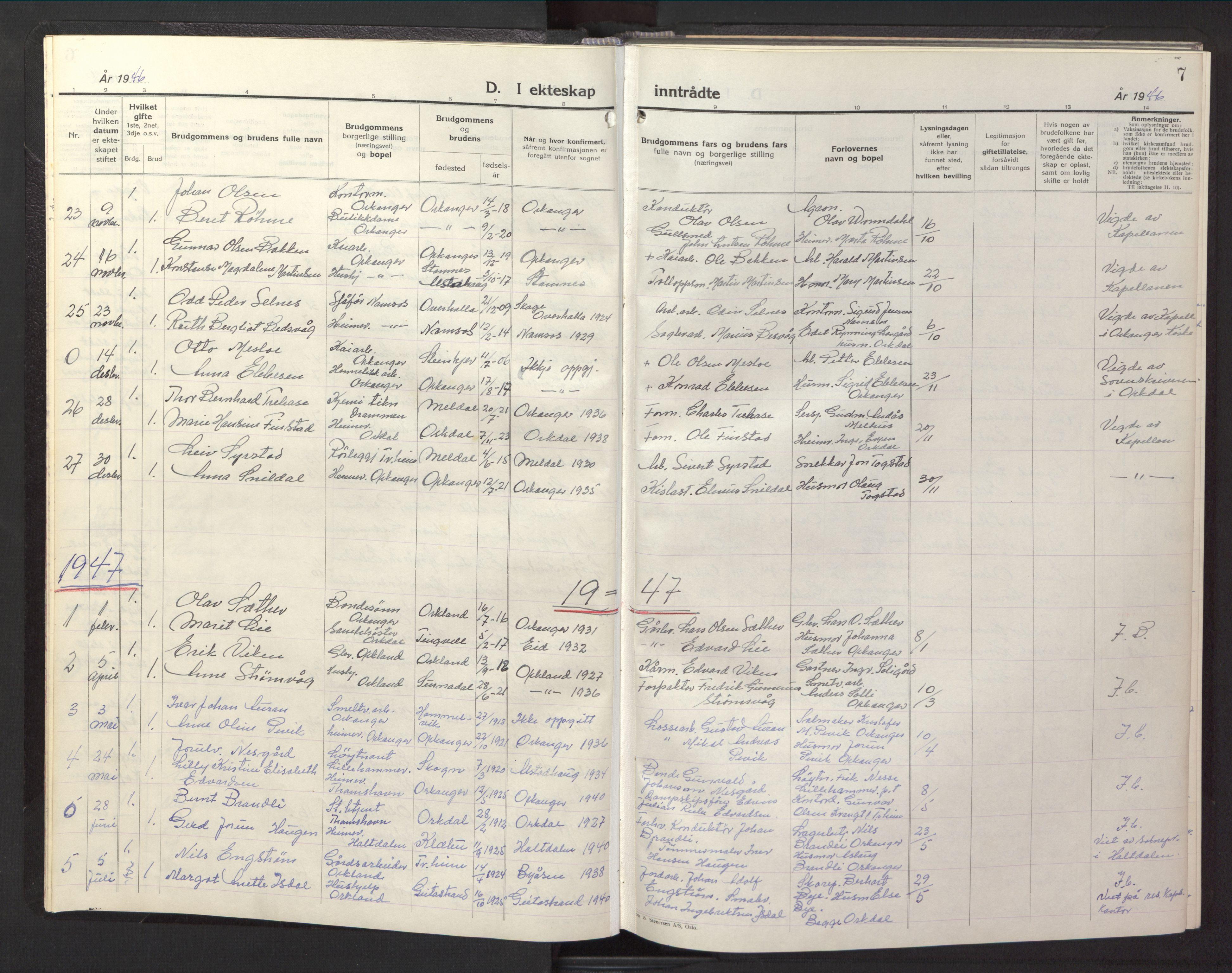 SAT, Ministerialprotokoller, klokkerbøker og fødselsregistre - Sør-Trøndelag, 669/L0833: Klokkerbok nr. 669C03, 1945-1950, s. 7