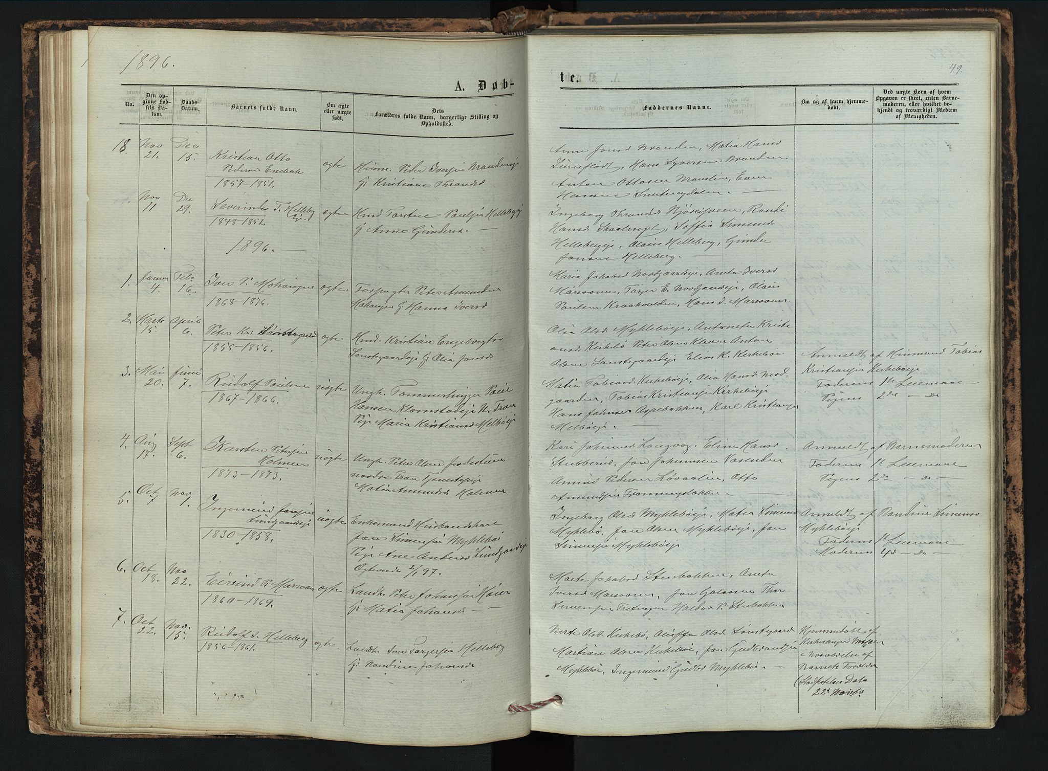 SAH, Vestre Gausdal prestekontor, Klokkerbok nr. 2, 1874-1897, s. 49